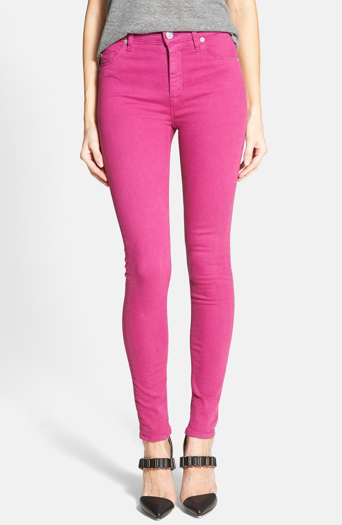 Main Image - Hudson Jeans 'Krista' Super Skinny Jeans (Bright Hydrangea)
