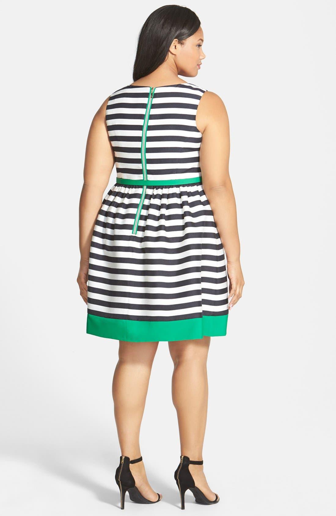 Alternate Image 2  - Eliza J Contrast Trim Stripe Jacquard Fit & Flare Dress (Plus Size)