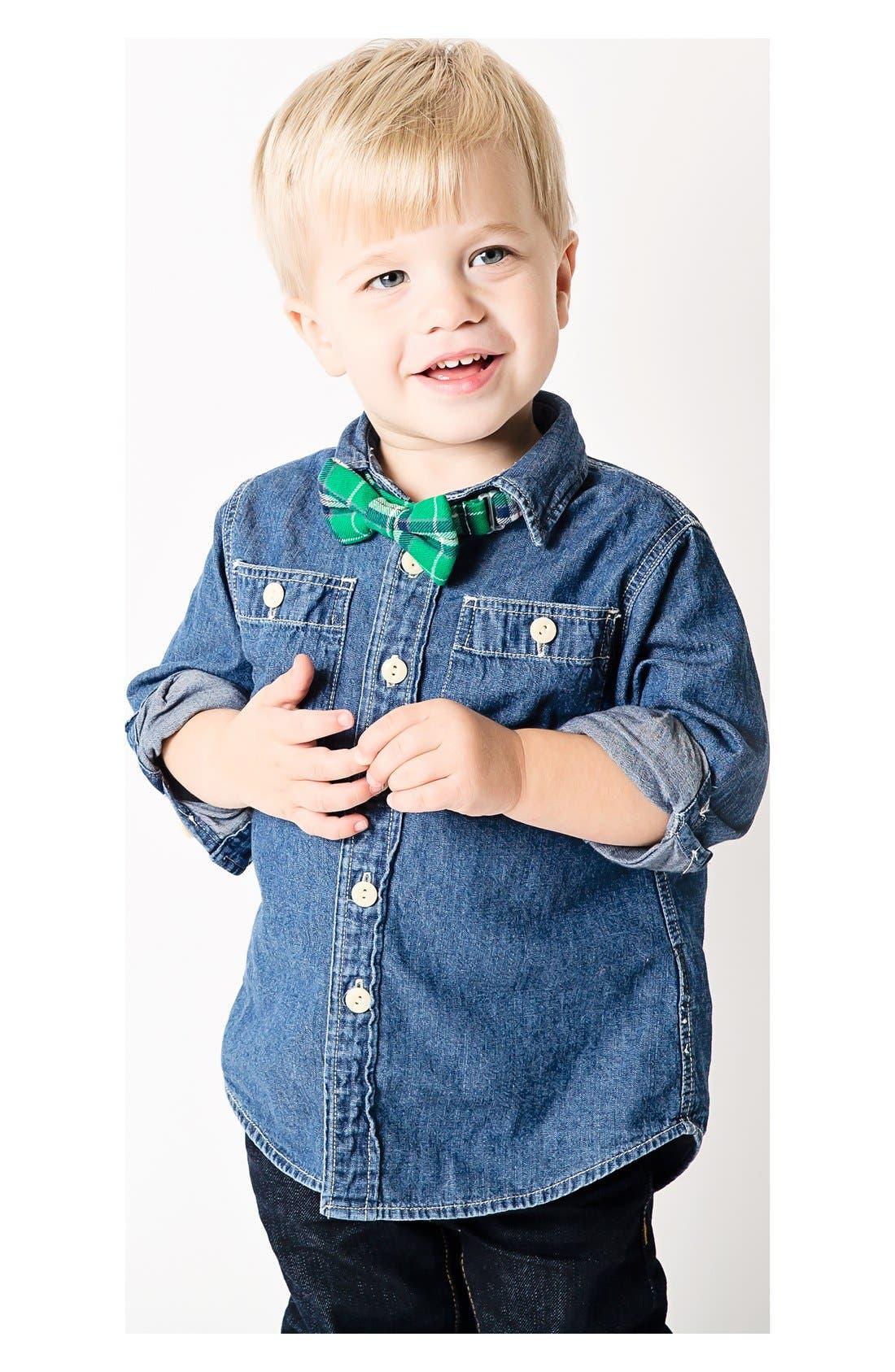 Alternate Image 2  - Baby Bow Tie Plaid Cotton Bow Tie (Baby Boys)