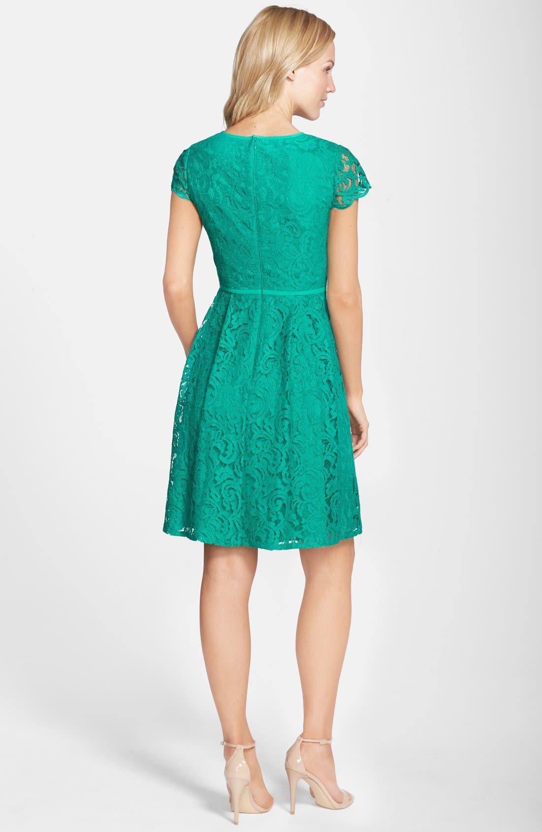 Alternate Image 2  - Adrianna Papell Cap Sleeve Lace Fit & Flare Dress