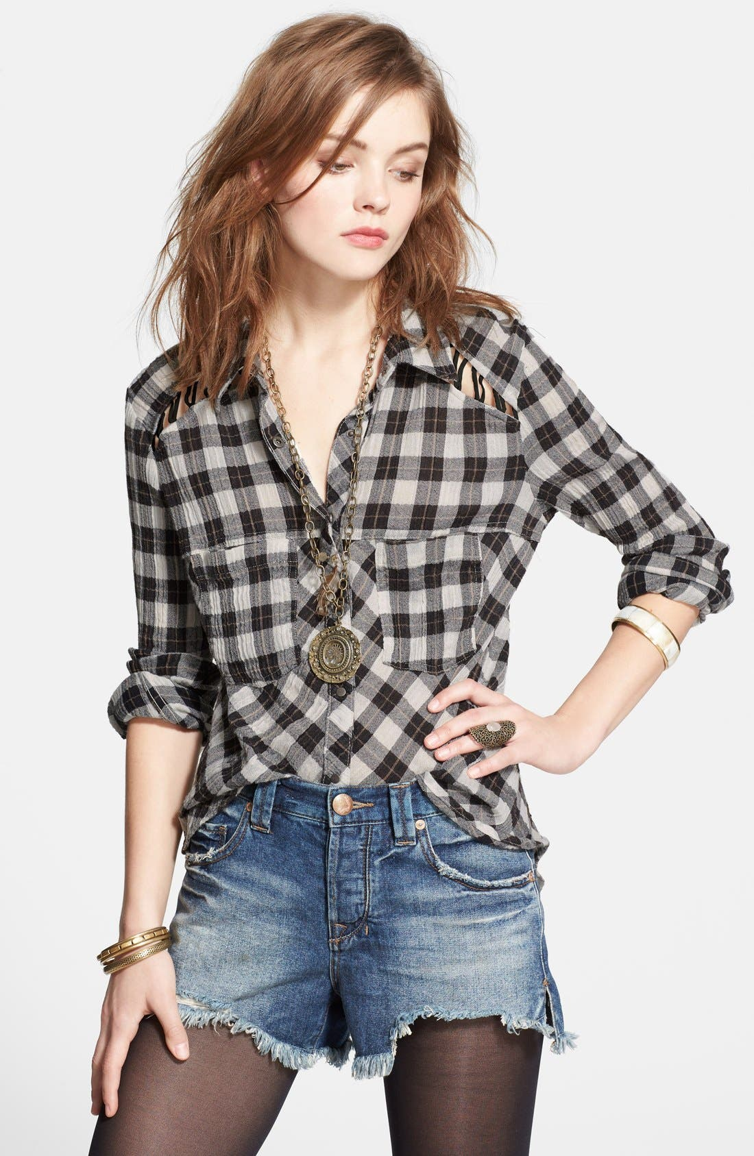 Main Image - Free People Lace-Up Shoulder Plaid Shirt