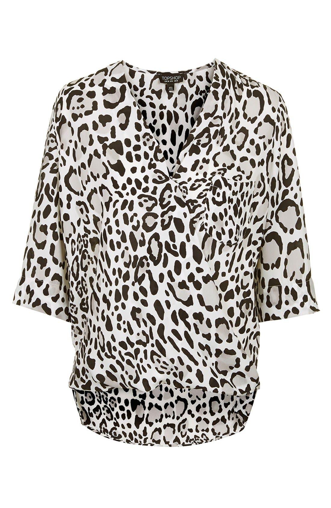 Alternate Image 3  - Topshop Leopard Print Surplice Top