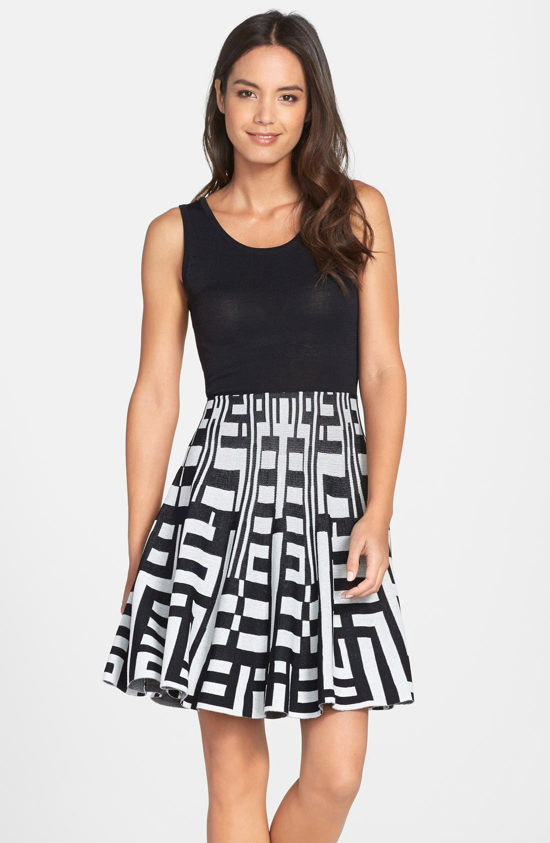 Alternate Image 1 Selected - Plenty by Tracy Reese 'Amber' Print Skirt Fit & Flare Sweater Dress (Regular & Petite)