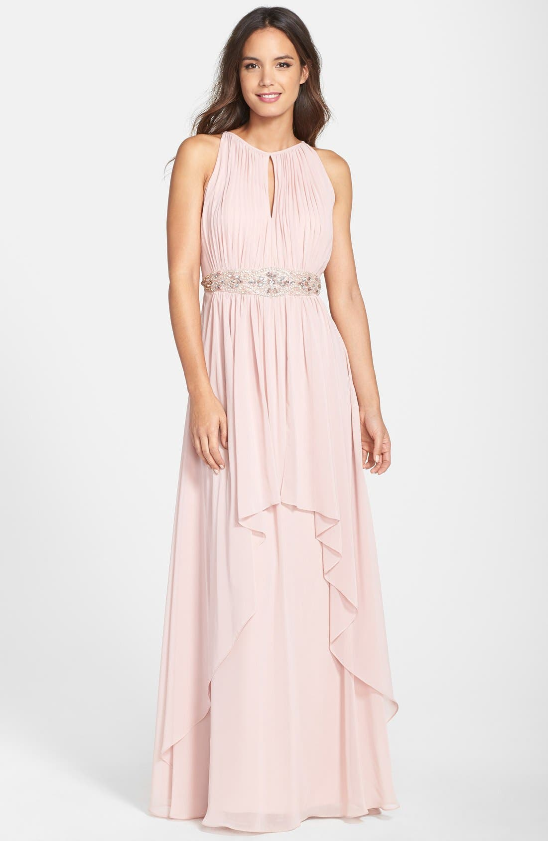 Alternate Image 1 Selected - Eliza J Embellished Chiffon Gown (Petite)