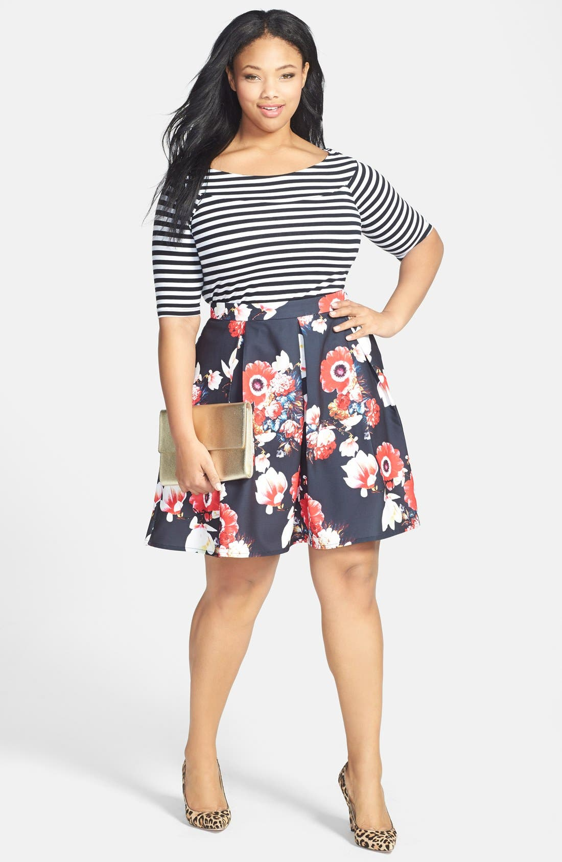 Alternate Image 4  - City Chic 'Beautiful Bloom' Pleat Circle Skirt (Plus Size)
