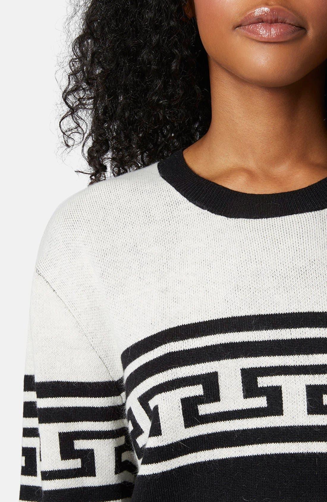 Alternate Image 4  - Topshop Monochrome Pattern Crewneck Sweater