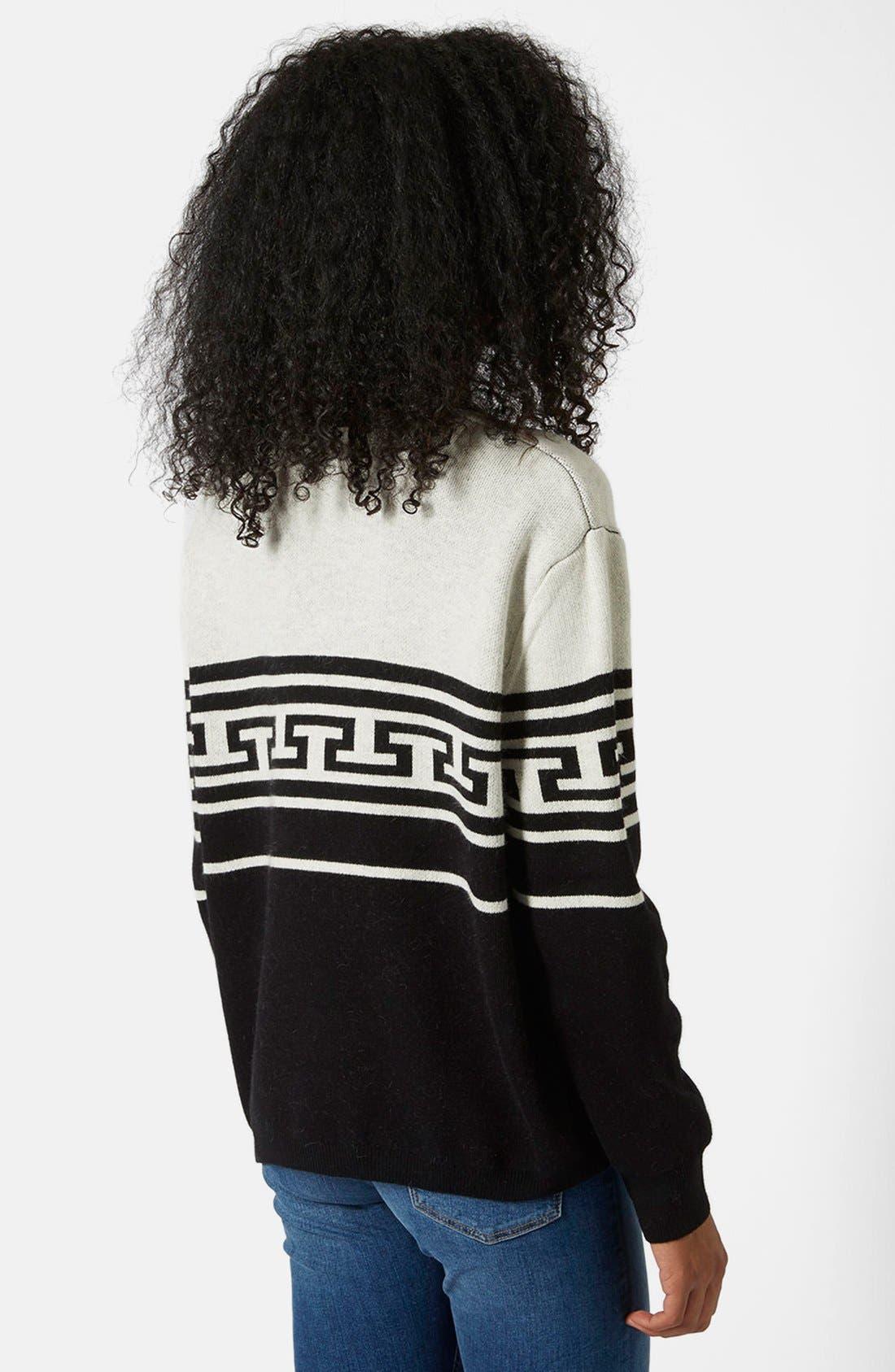 Alternate Image 2  - Topshop Monochrome Pattern Crewneck Sweater