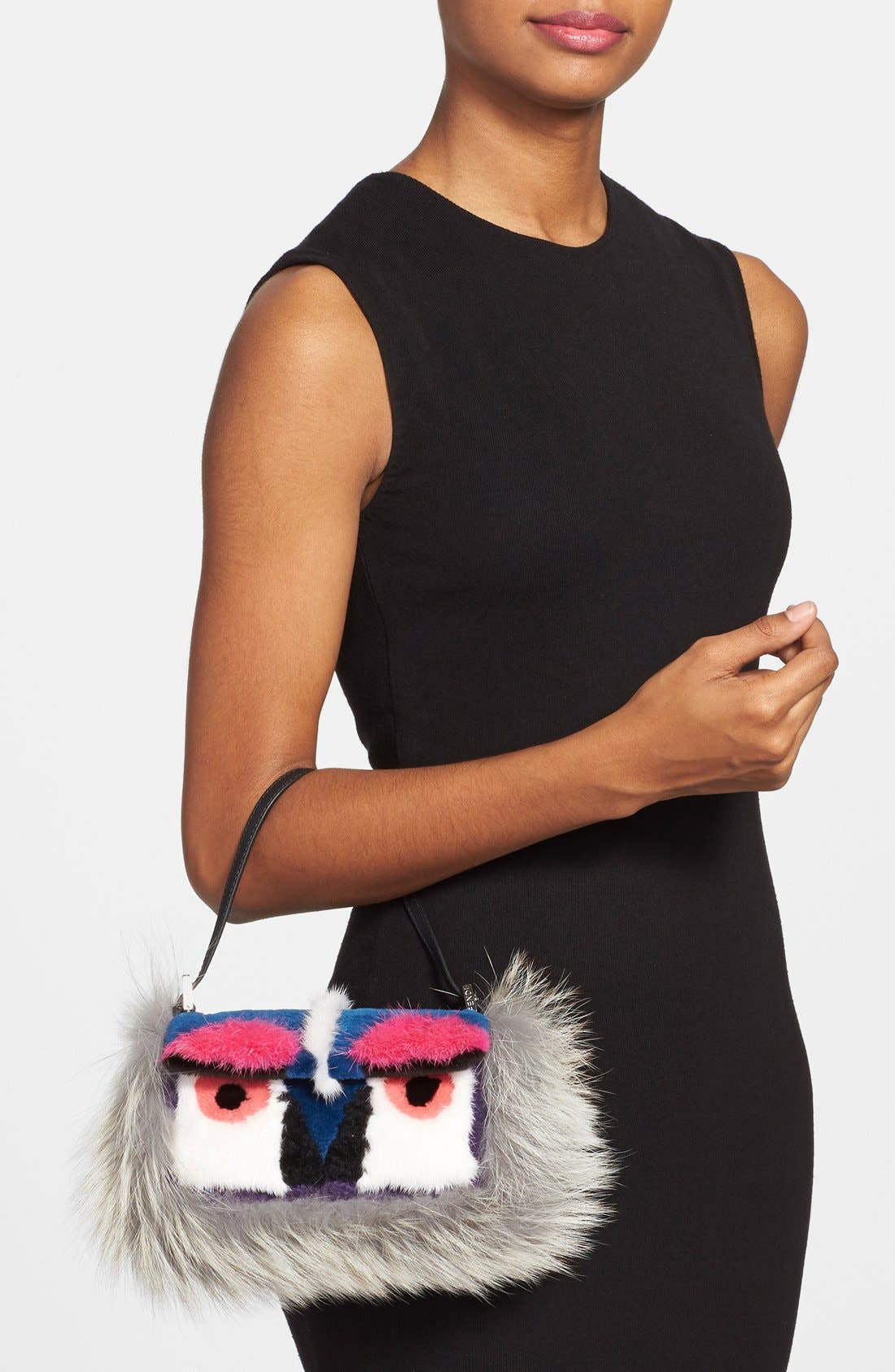 Alternate Image 2  - Fendi 'Monster' Genuine Mink & Genuine Fox Fur Mini Baguette