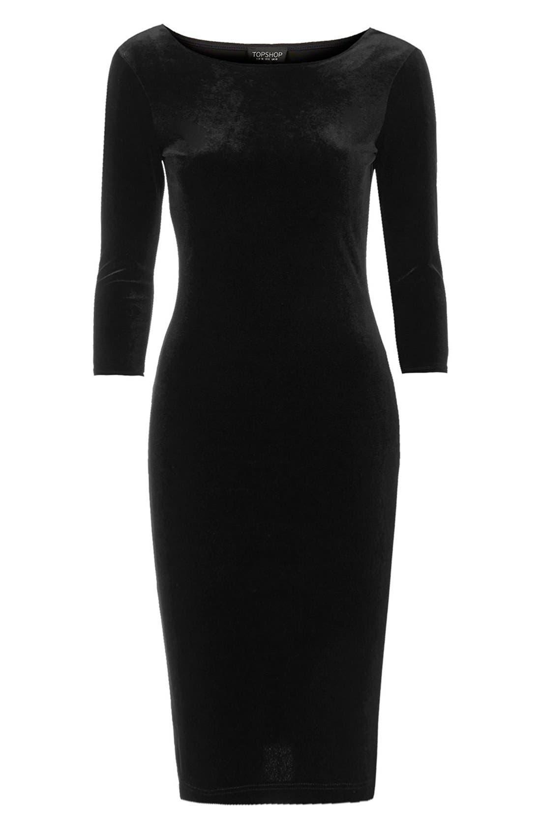 Alternate Image 3  - Topshop Velvet Body-Con Dress