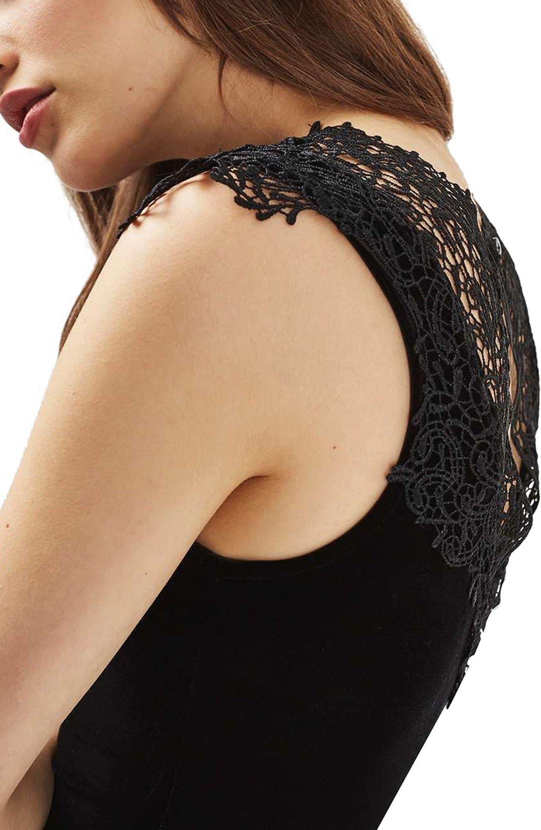 Alternate Image 5  - Topshop Crochet Velvet Plunge Bodysuit