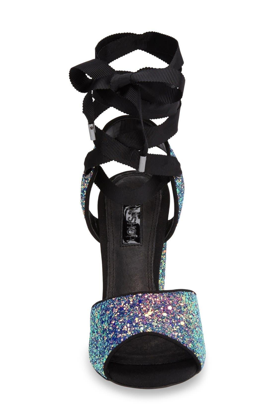 Alternate Image 3  - Topshop Royal Glitter Lace-Up Sandals (Women)