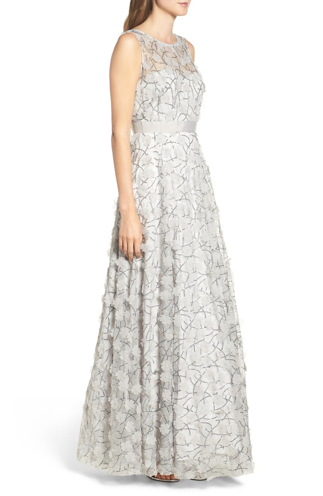Alternate Image 3  - Eliza J Embellished Mesh Ballgown (Regular & Petite)