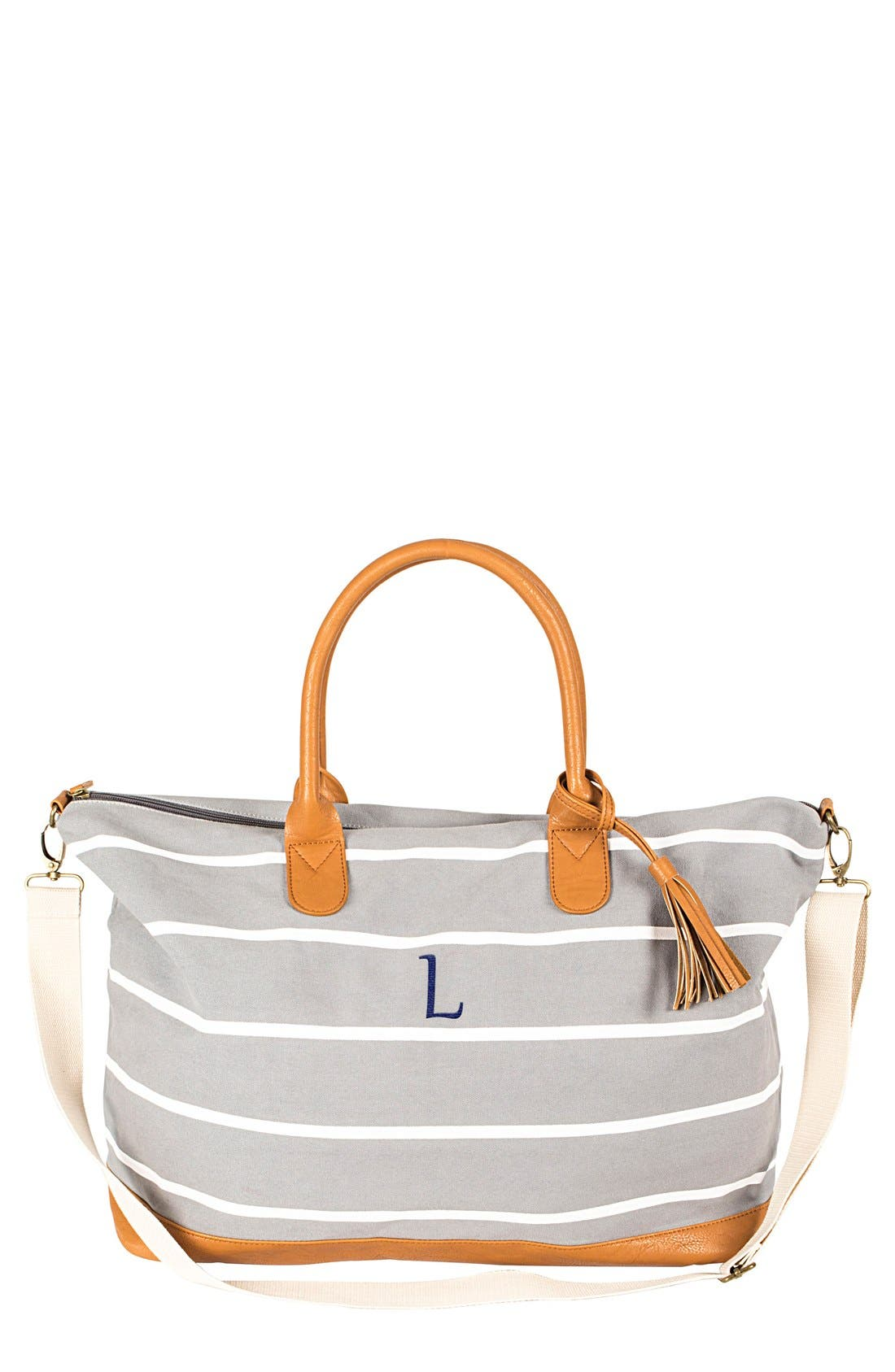 Alternate Image 1 Selected - Cathy's Concepts Monogram Oversized Weekender Tote