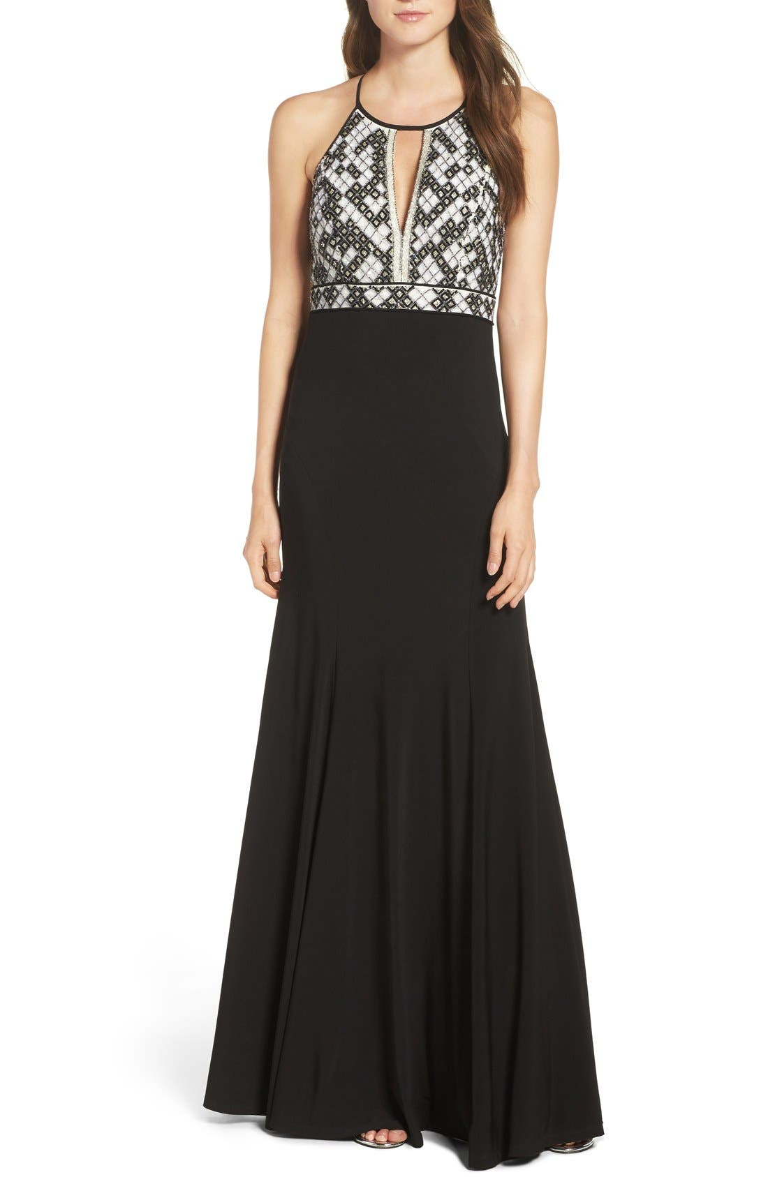 Aidan Mattox Beaded Halter Gown