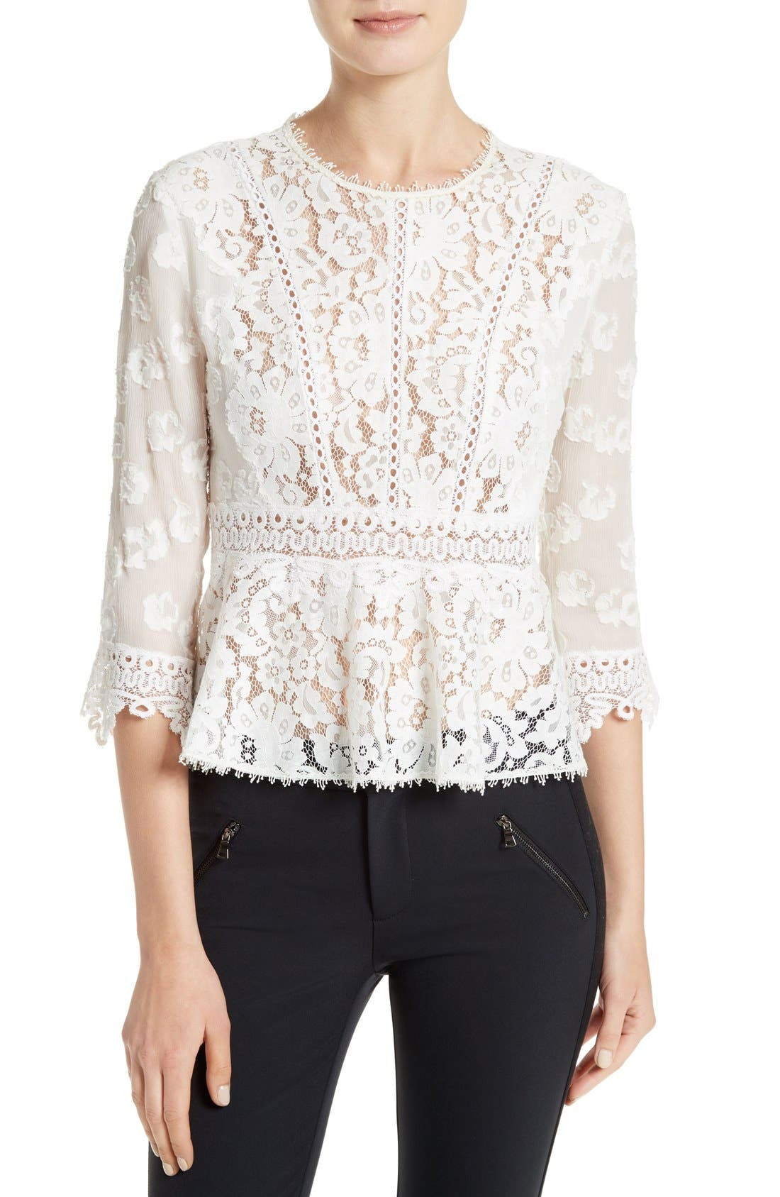 Alternate Image 1 Selected - Rebecca Taylor Mix Lace Top