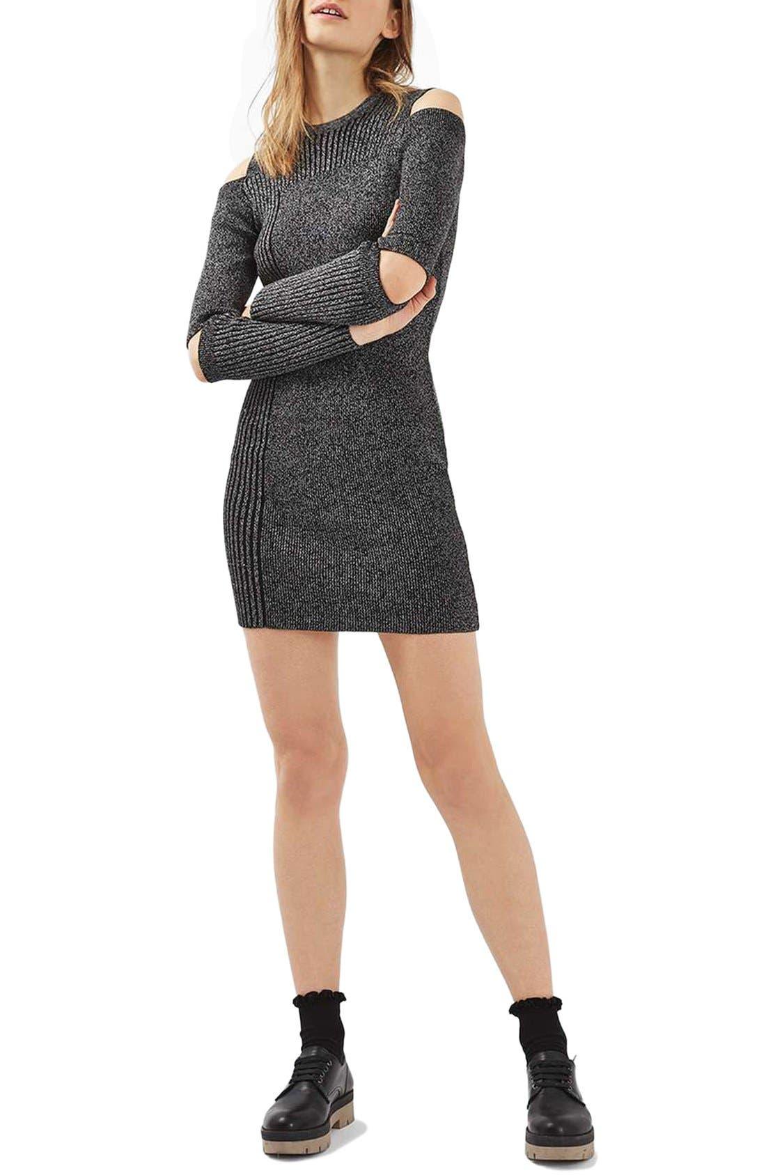 Alternate Image 1 Selected - Topshop Slash Ribbed Sweater Dress