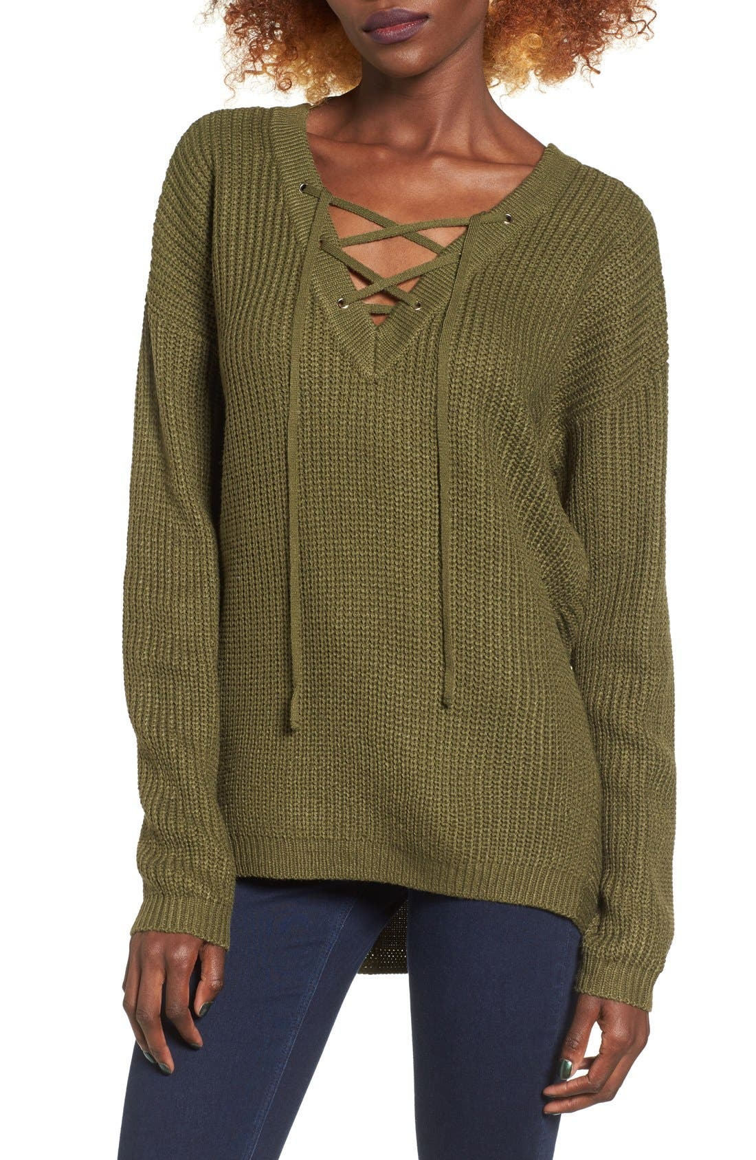 Alternate Image 1 Selected - Love by Design Lace-Up Sweater