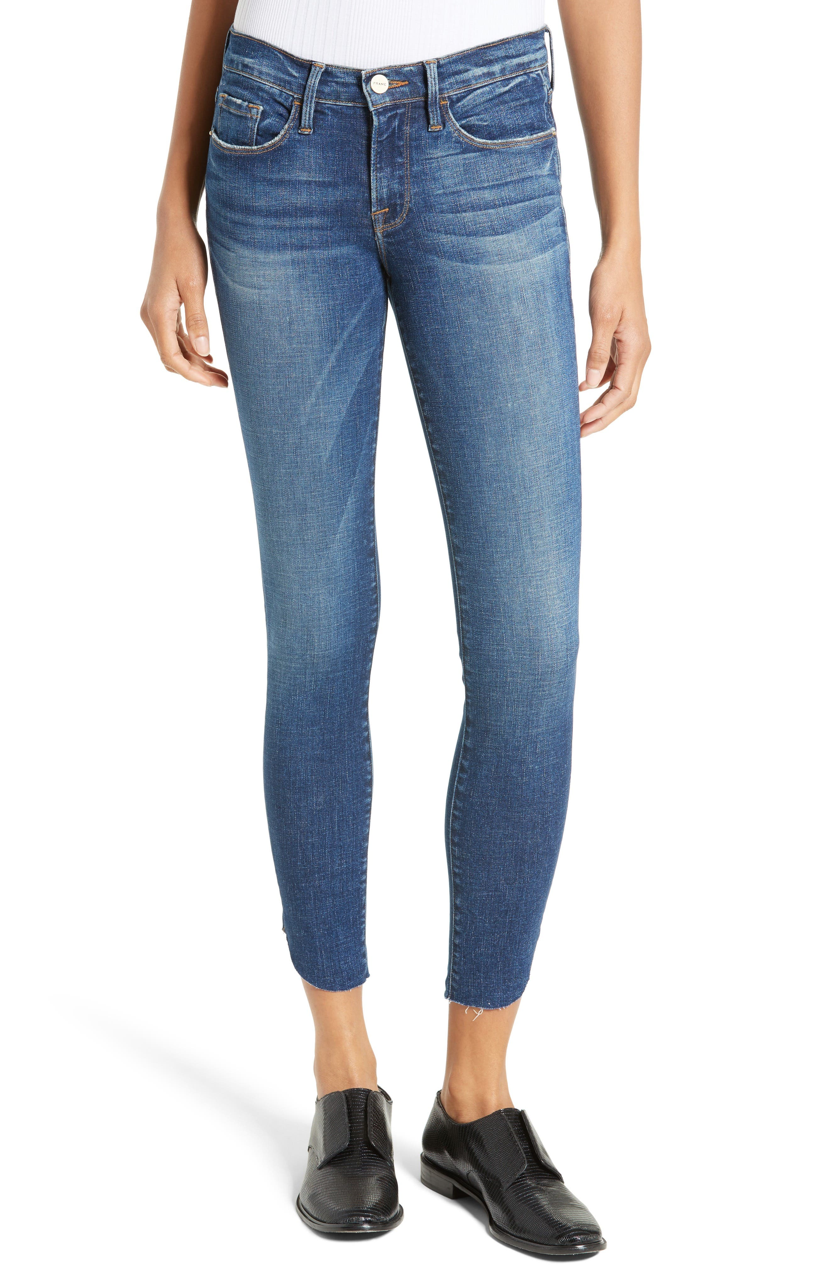 Alternate Image 1 Selected - FRAME Le Skinny Raw Tulip Crop Jeans (York) (Nordstrom Exclusive)