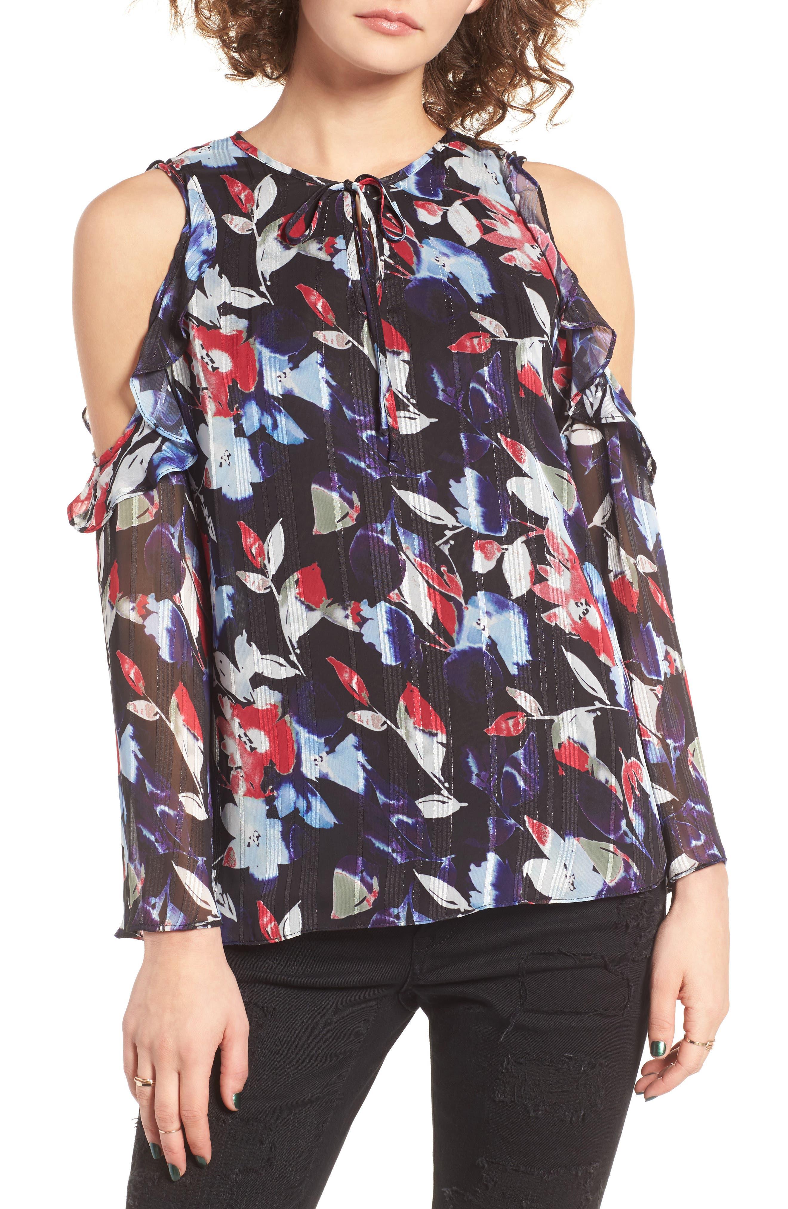 Alternate Image 1 Selected - devlin Essie Floral Cold Shoulder Blouse