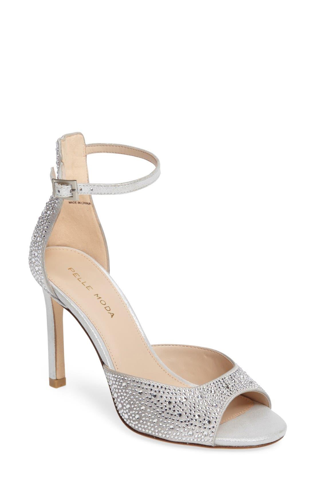 PELLE MODA Crystal Embellished Ankle Strap Sandal
