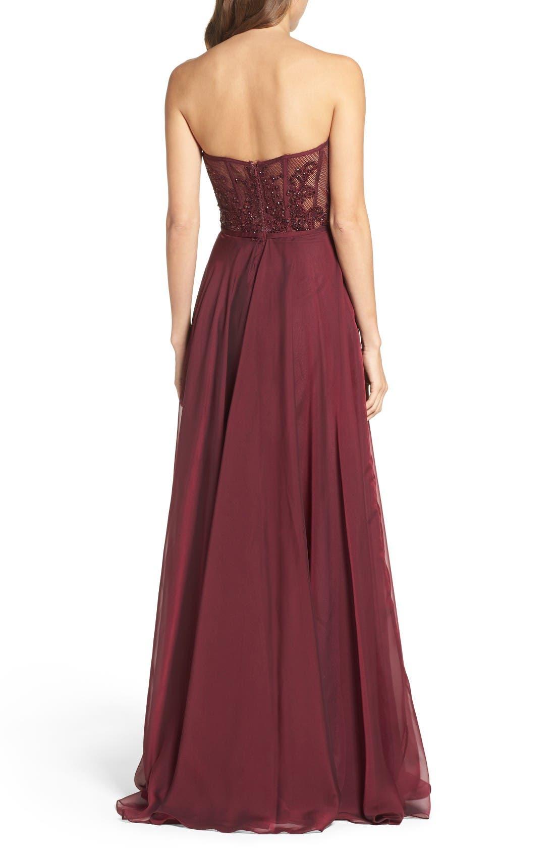 Alternate Image 2  - La Femme Embellished Strapless Gown
