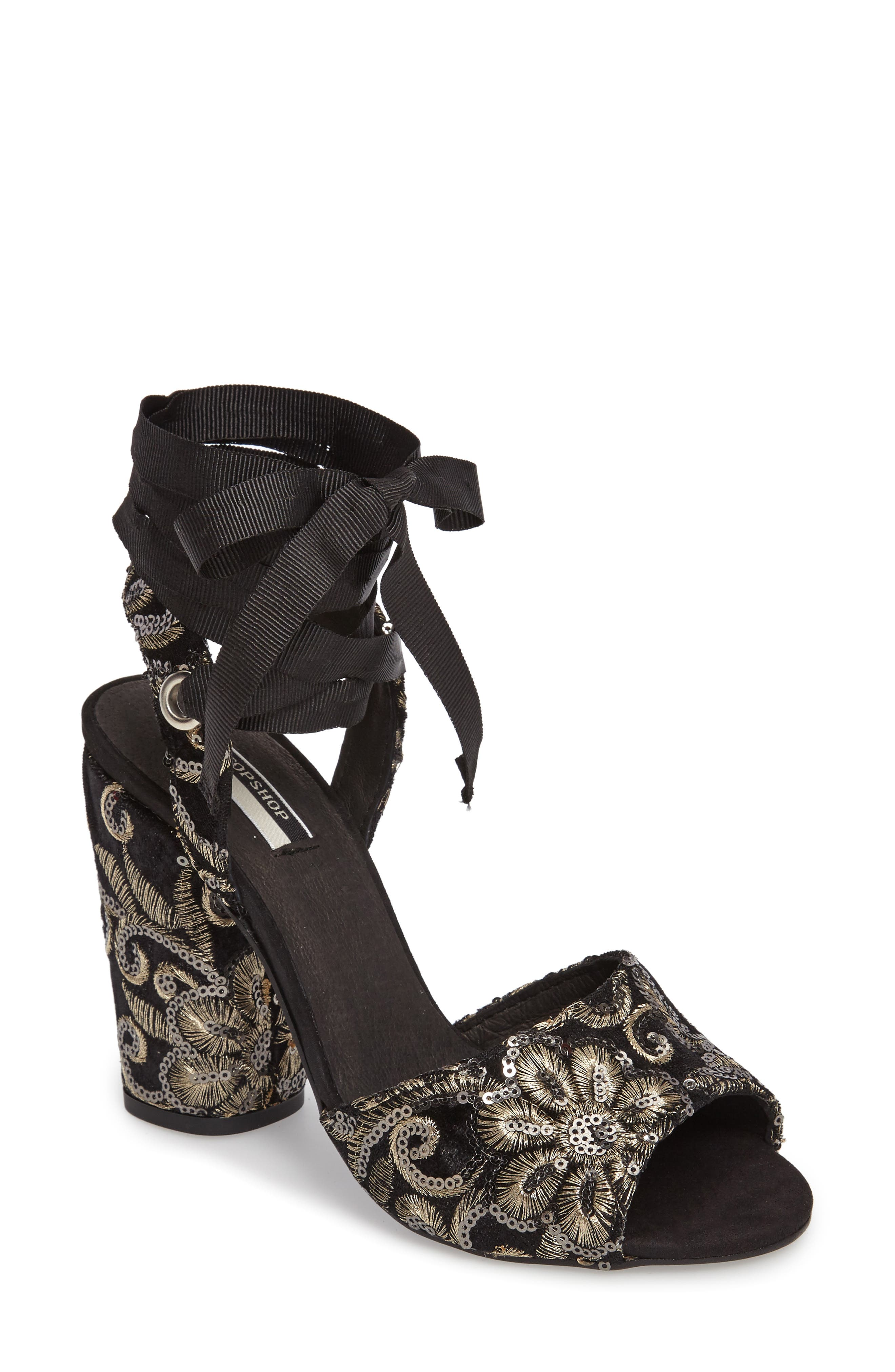 Alternate Image 1 Selected - Topshop Rioja Embroidered Lace-Up Sandals (Women)