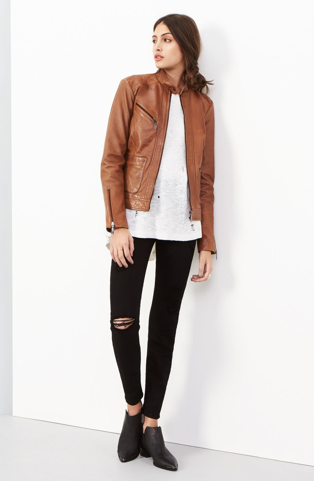 Alternate Image 2  - Bernardo Kirwin Leather Jacket (Regular & Petite)