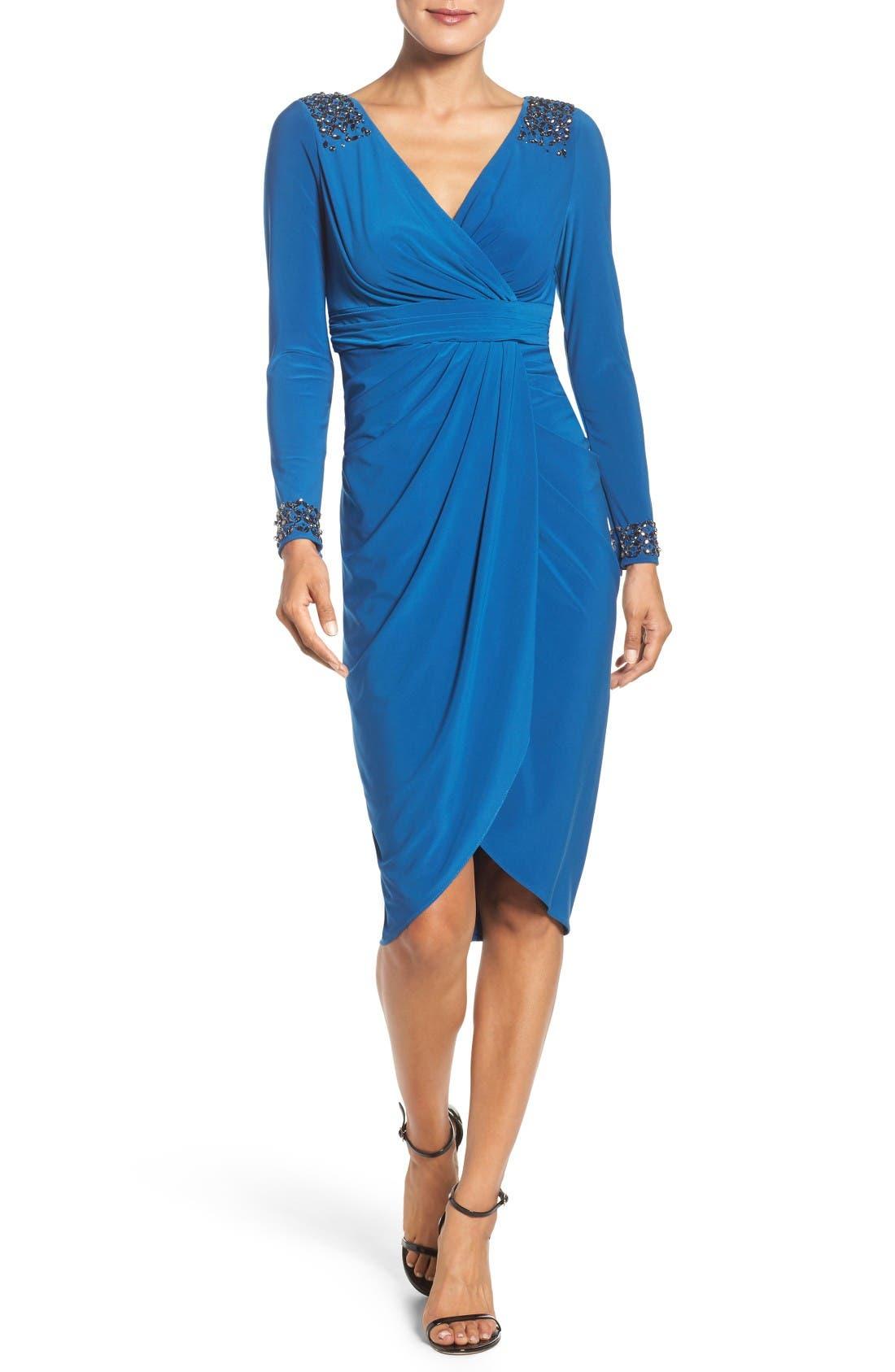 Alternate Image 1 Selected - Adrianna Papell Embellished Wrap Dress (Regular & Petite)