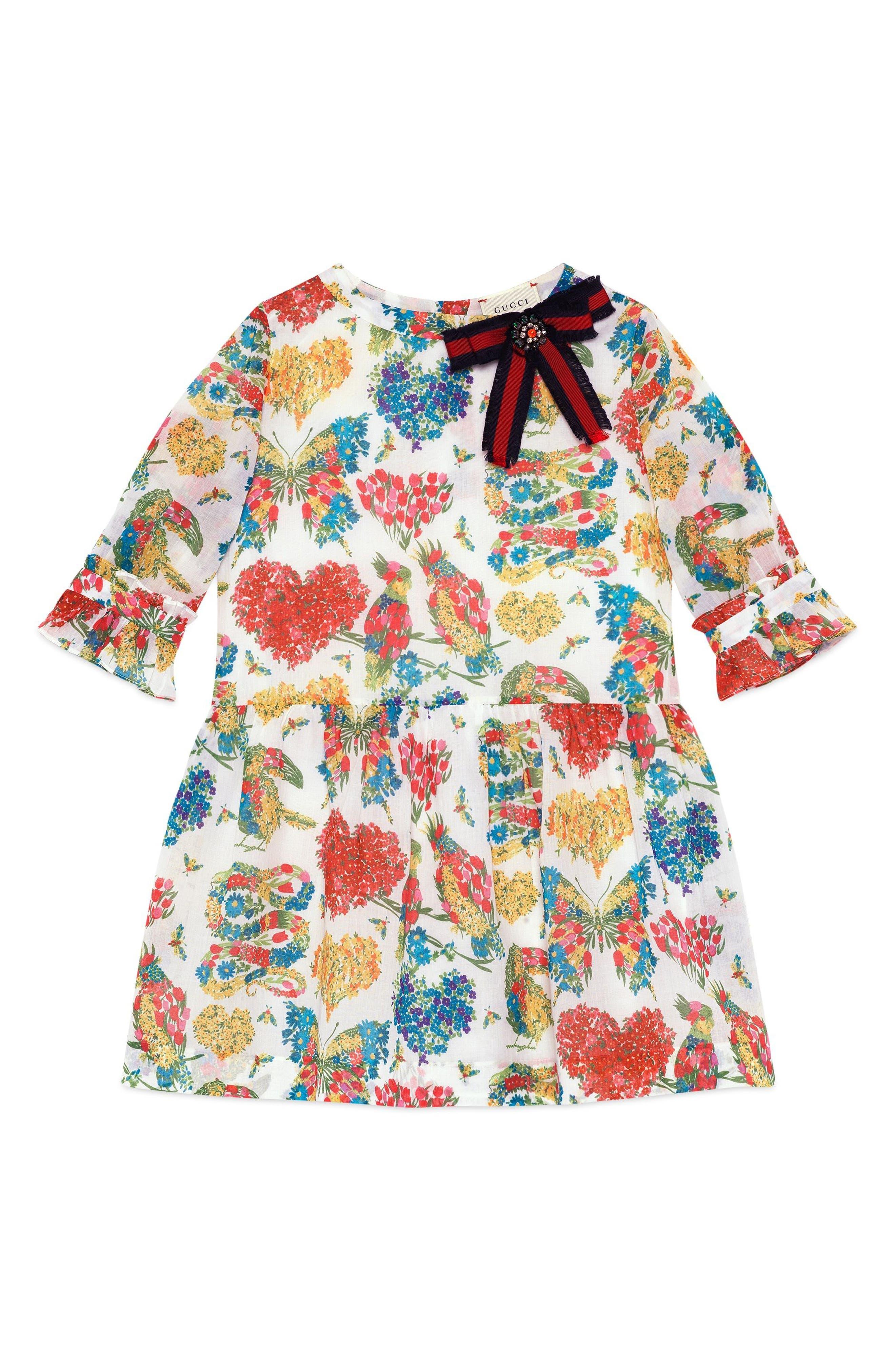 Gucci Floral Long Sleeve Dress (Little Girls & Big Girls)
