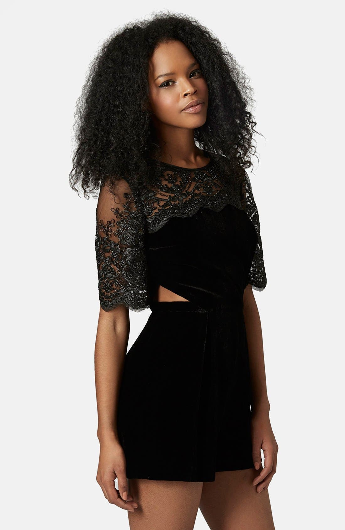 Alternate Image 1 Selected - Topshop Velvet Lace Romper