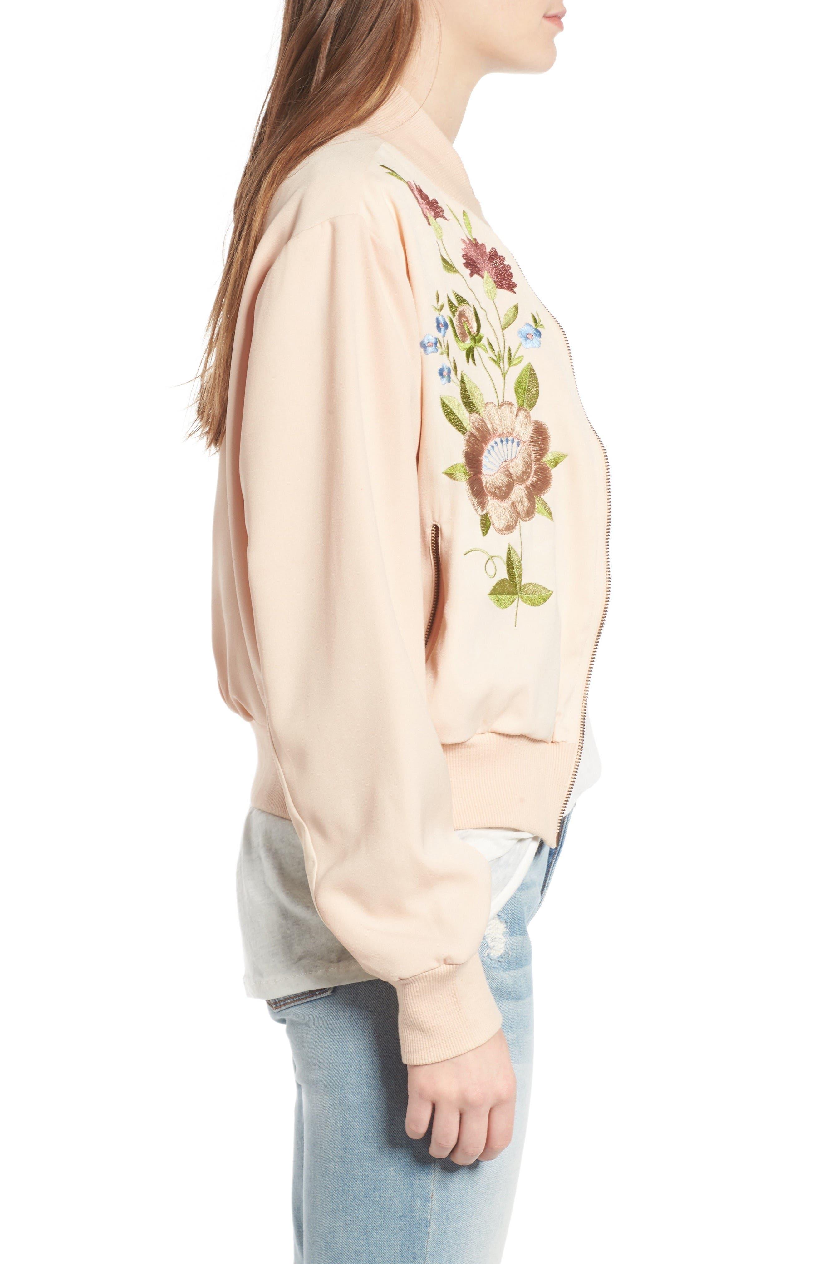 Alternate Image 3  - Glamorous Floral Embroidered Bomber Jacket