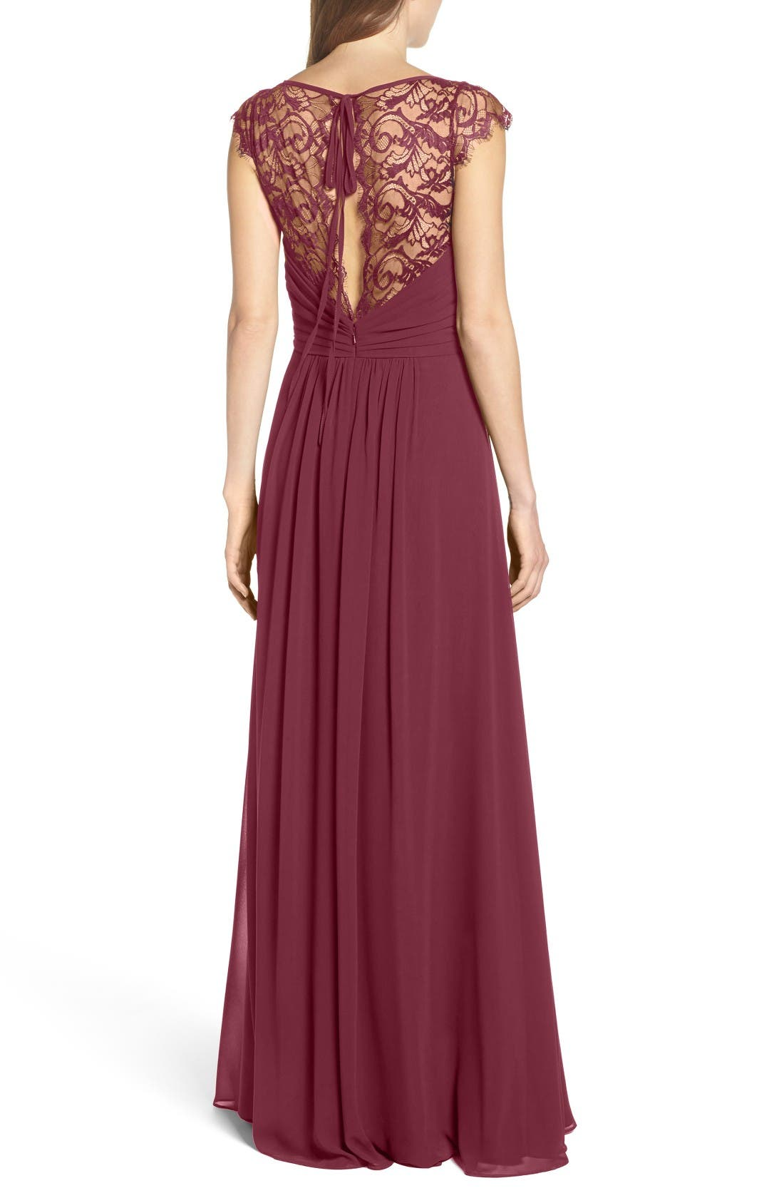 Alternate Image 2  - Hayley Paige Occasions Lace & Chiffon Cap Sleeve Gown
