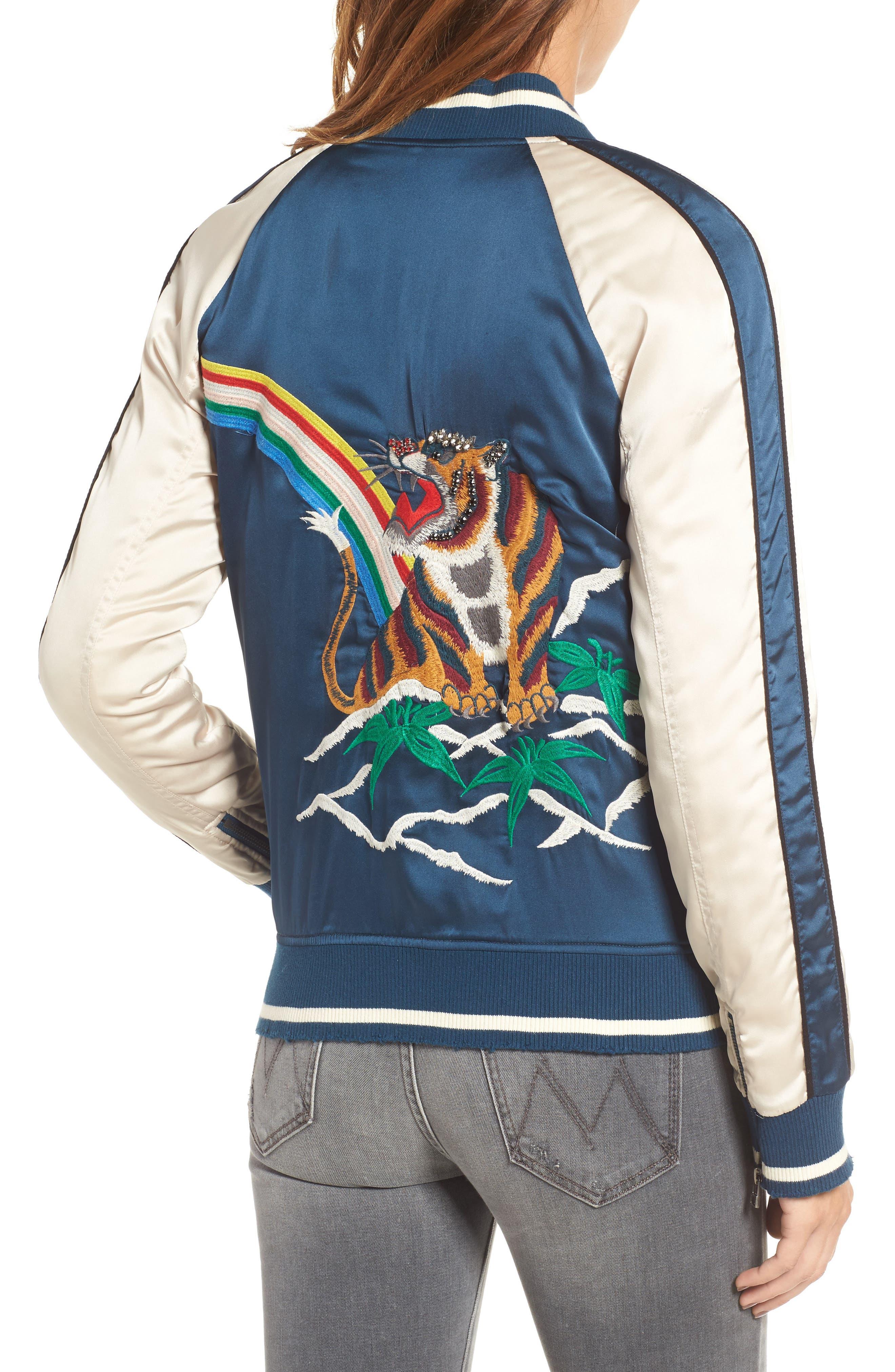 Alternate Image 2  - Pam & Gela Embroidered Satin Bomber Jacket