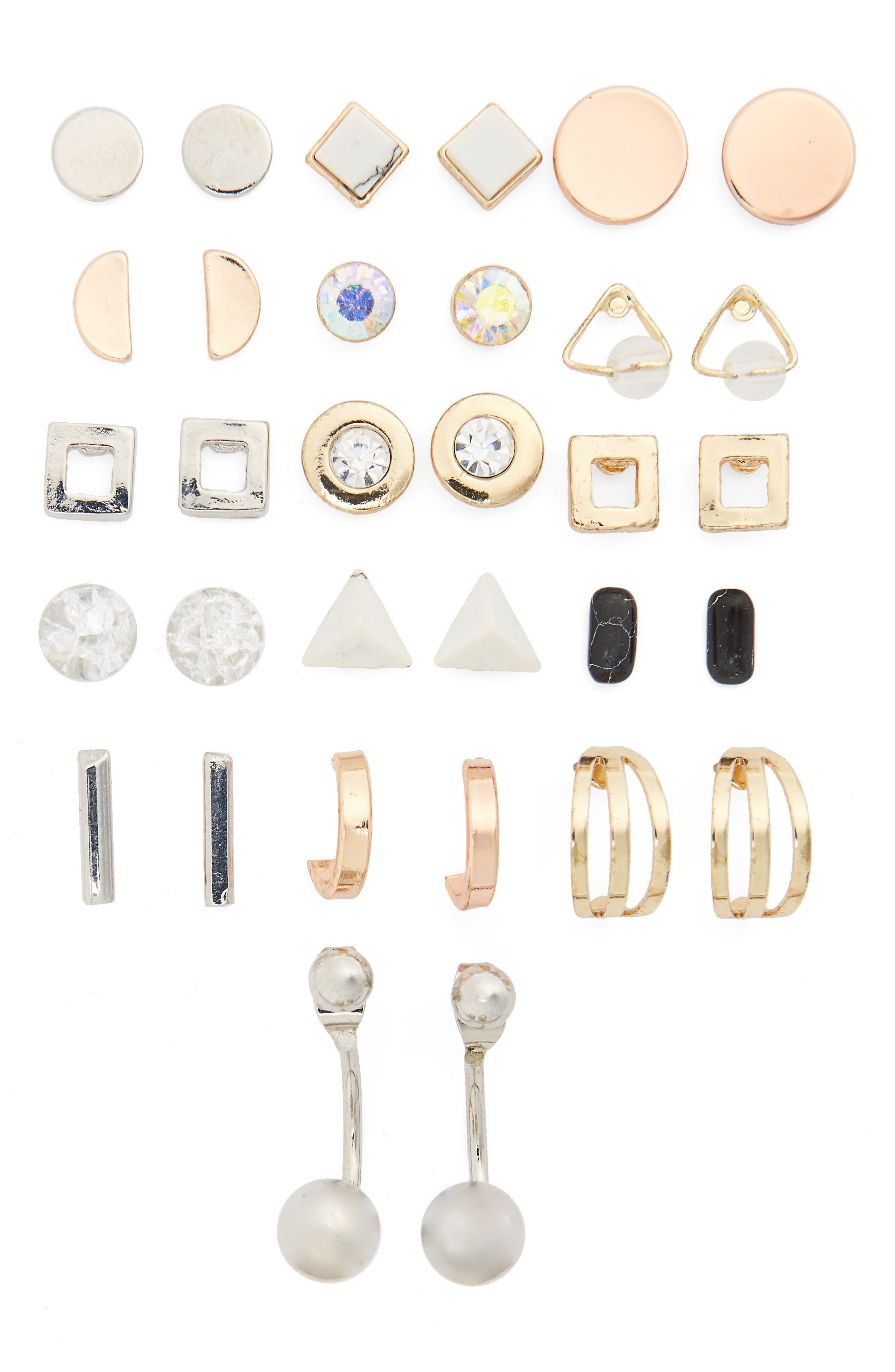 Alternate Image 1 Selected - Topshop Pack of 16 Stud & Hoop Earrings