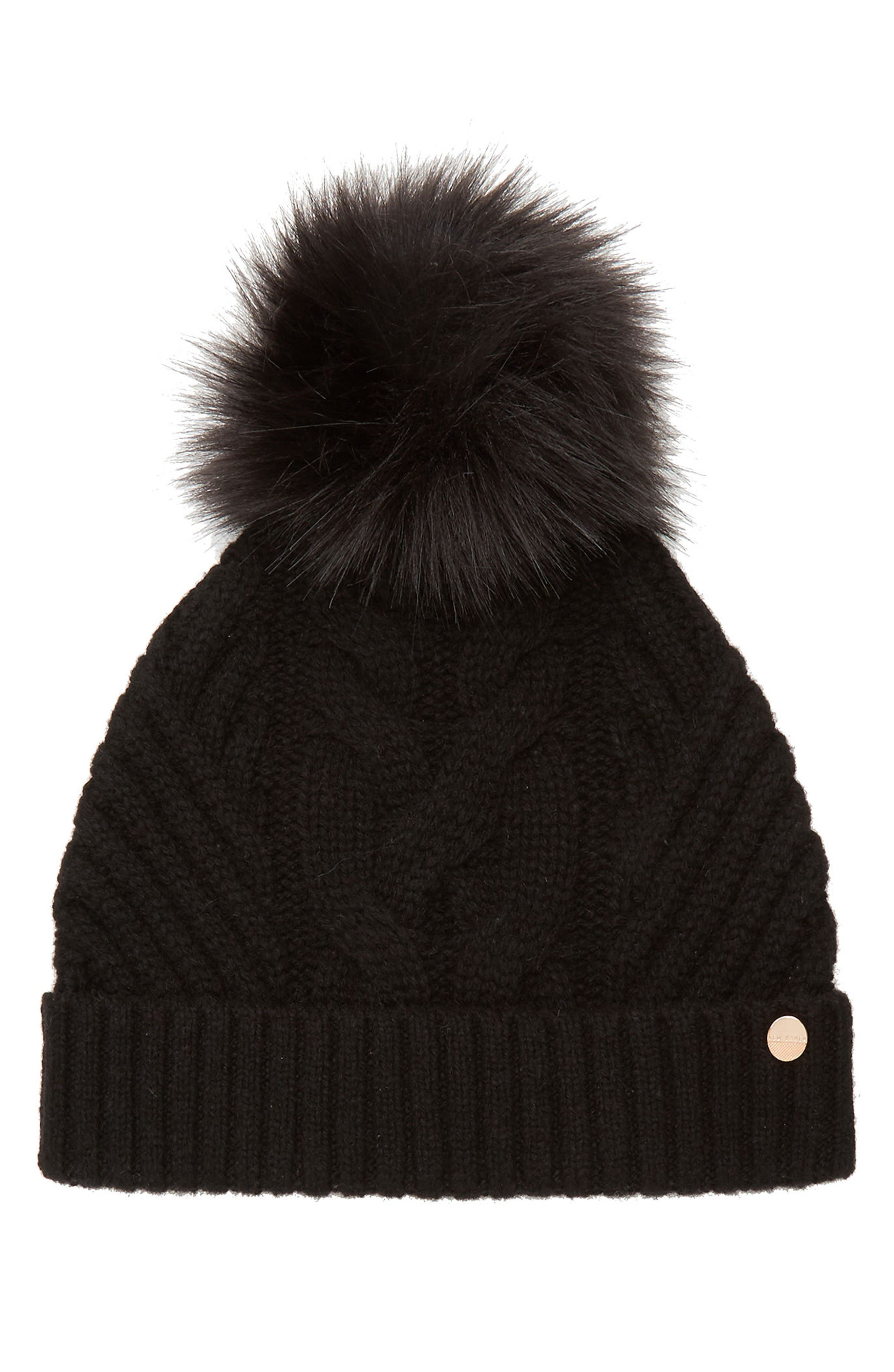 Main Image - Ted Baker London Cable Knit Beanie with Faux Fur Pom