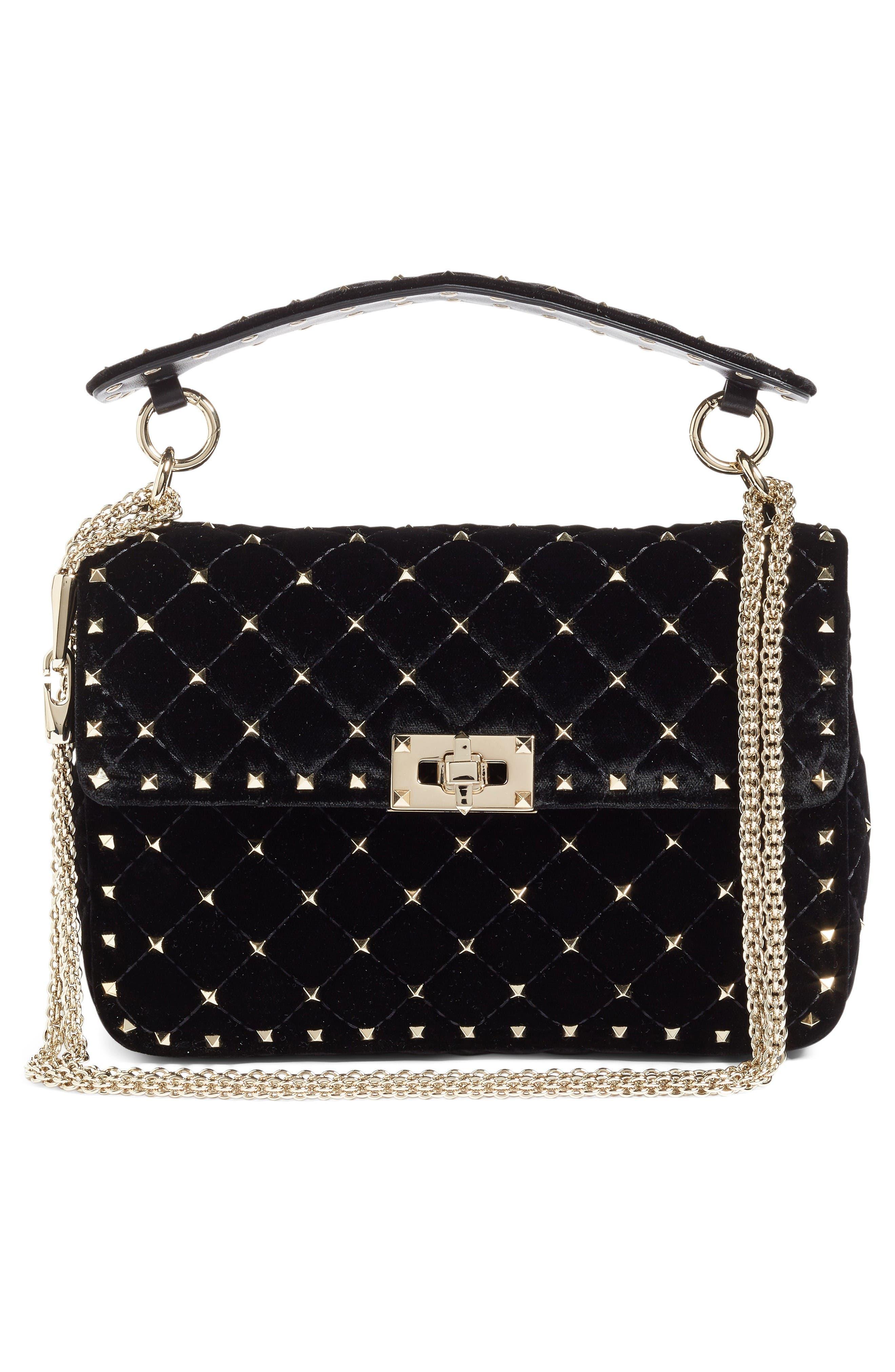 VALENTINO GARAVANI Rockstud Spike Velvet Shoulder Bag