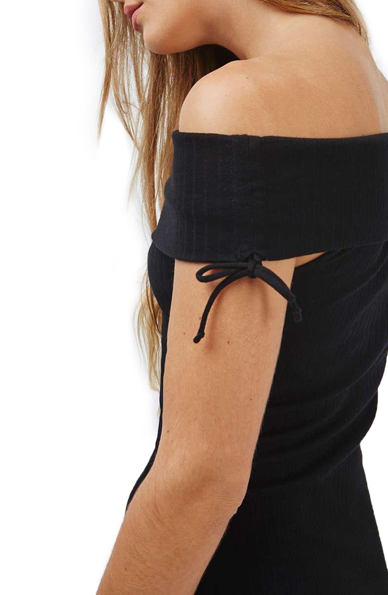 Alternate Image 4  - Topshop Bardot Ribbed Midi Dress