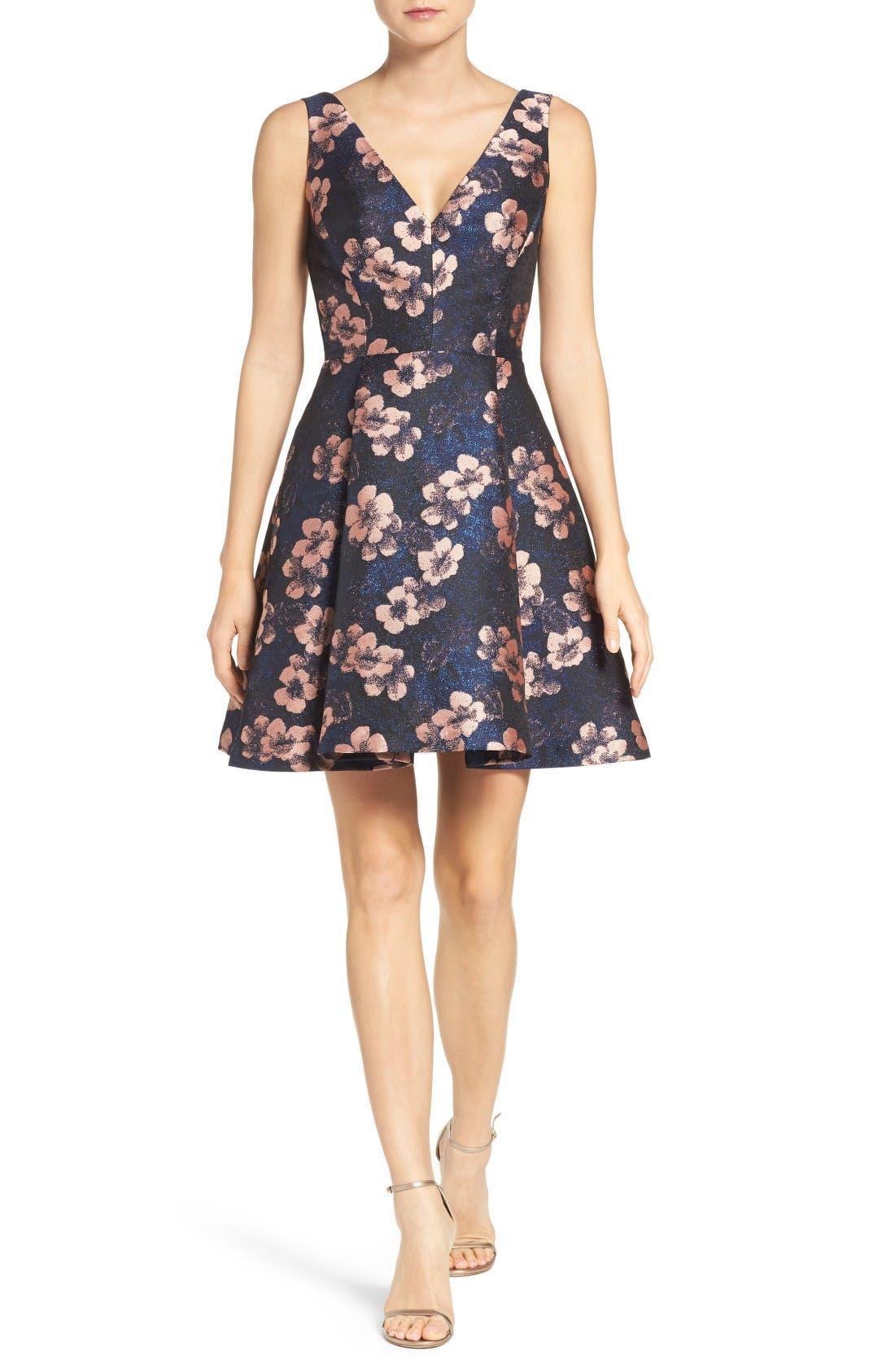 Alternate Image 4  - Betsey Johnson Metallic Jacquard Fit & Flare Dress