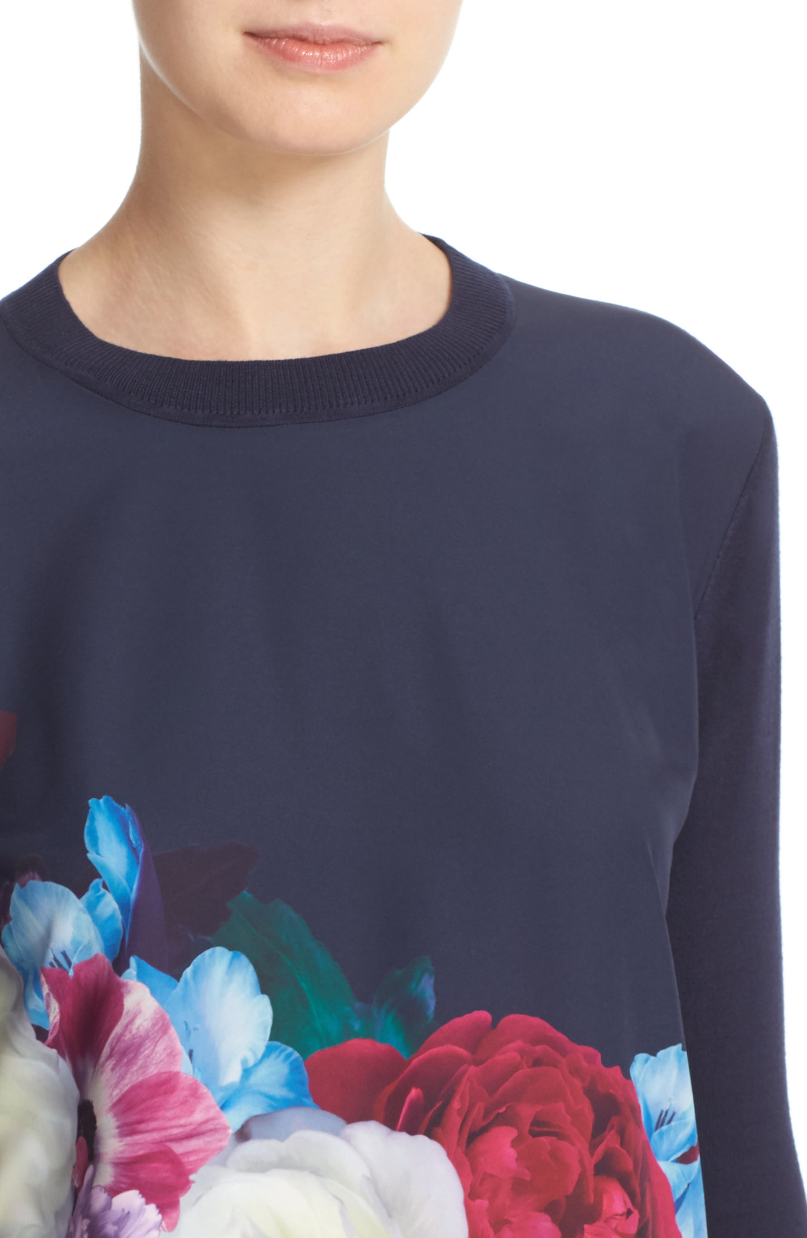 Alternate Image 4  - Ted Baker London Islii Blushing Bouquet Woven Front Sweater