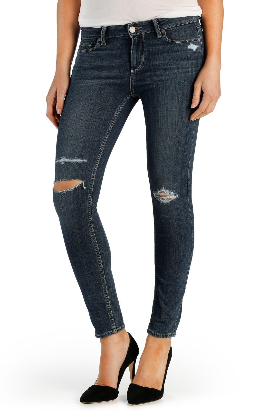Main Image - PAIGE Transcend - Verdugo Ankle Ultra Skinny Jeans (Adira Destructed)
