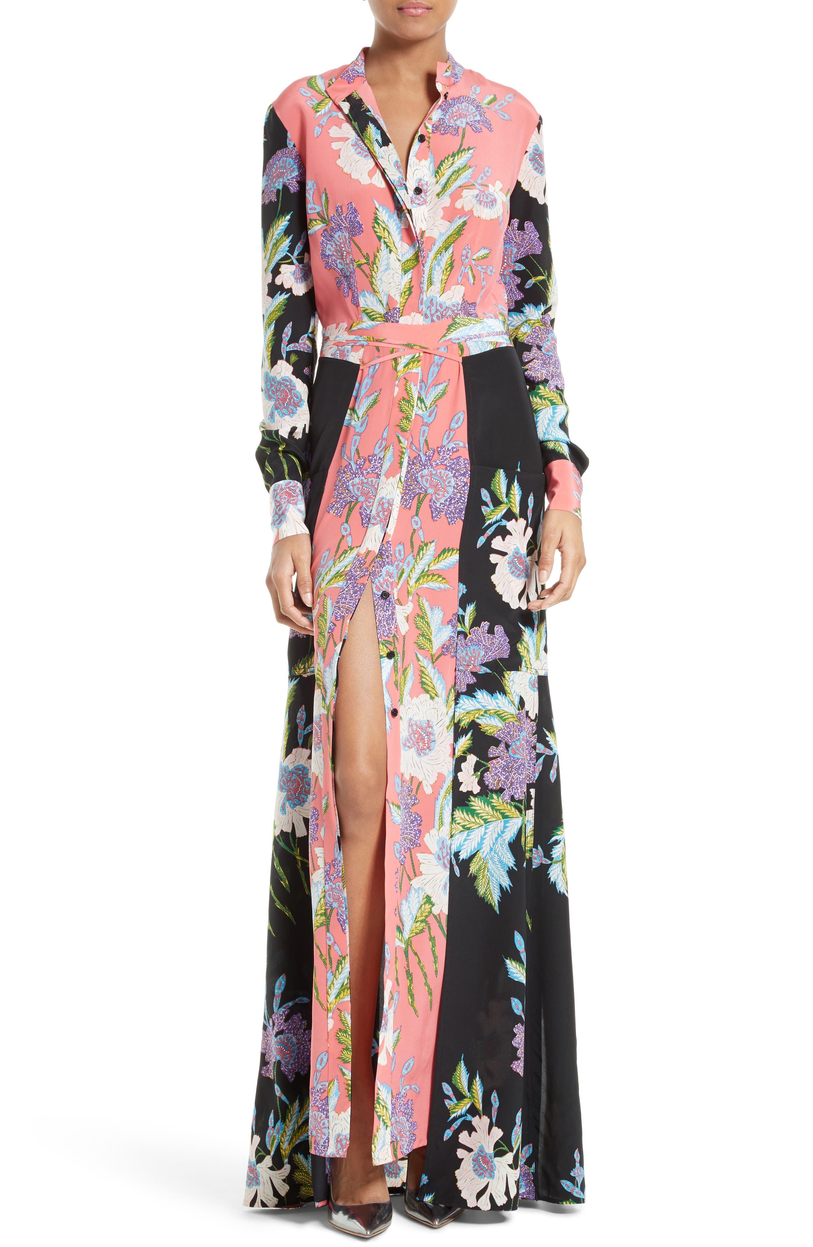 Diane von Furstenberg Floral Maxi Shirtdress