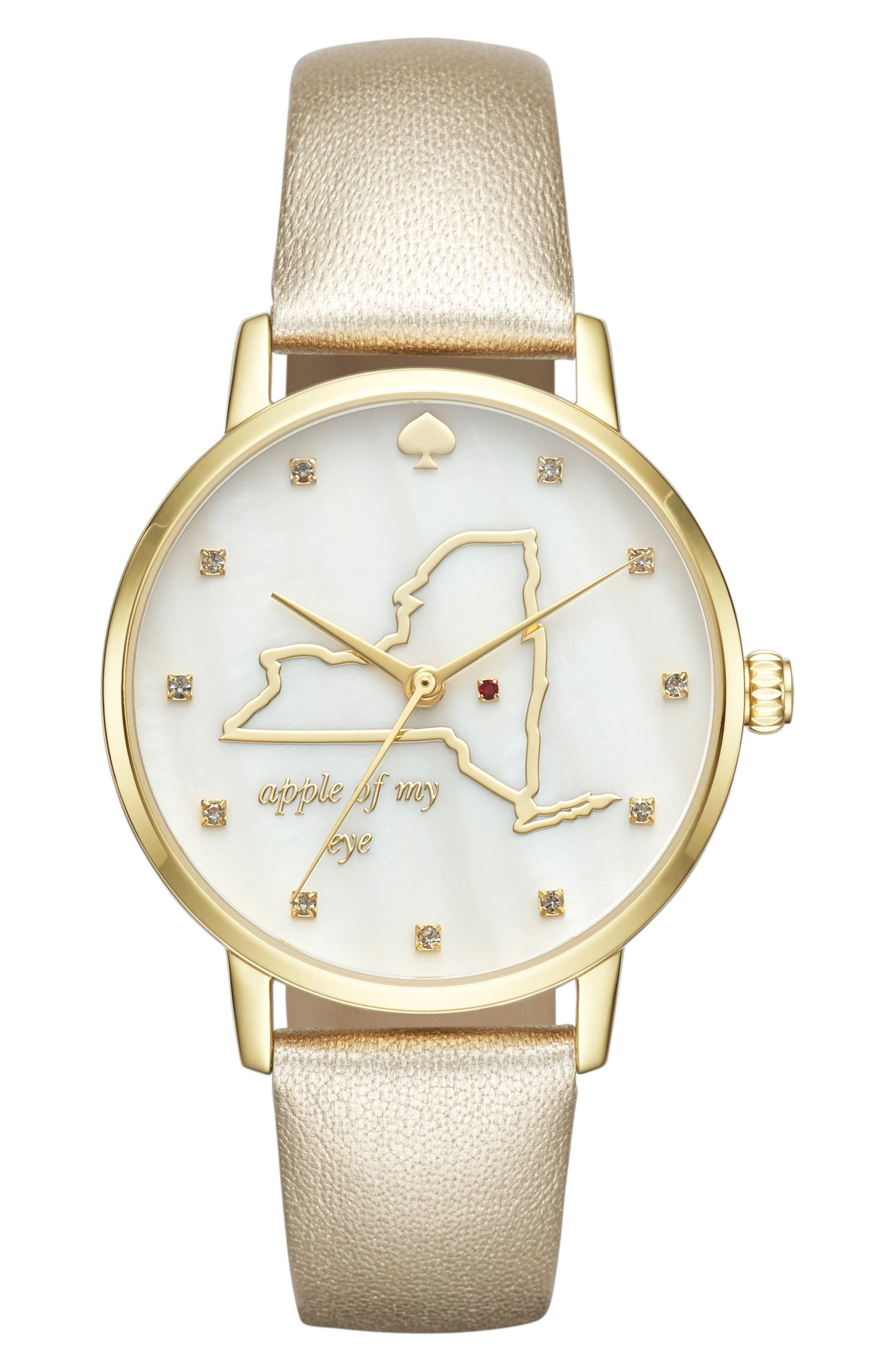 kate spade new york metro new york state of mind leather strap watch, 34mm