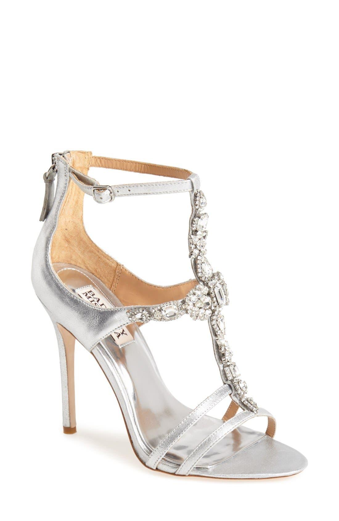 Alternate Image 1 Selected - Badgley Mischka 'Giovanna II' Satin Ankle Strap Sandal (Women)