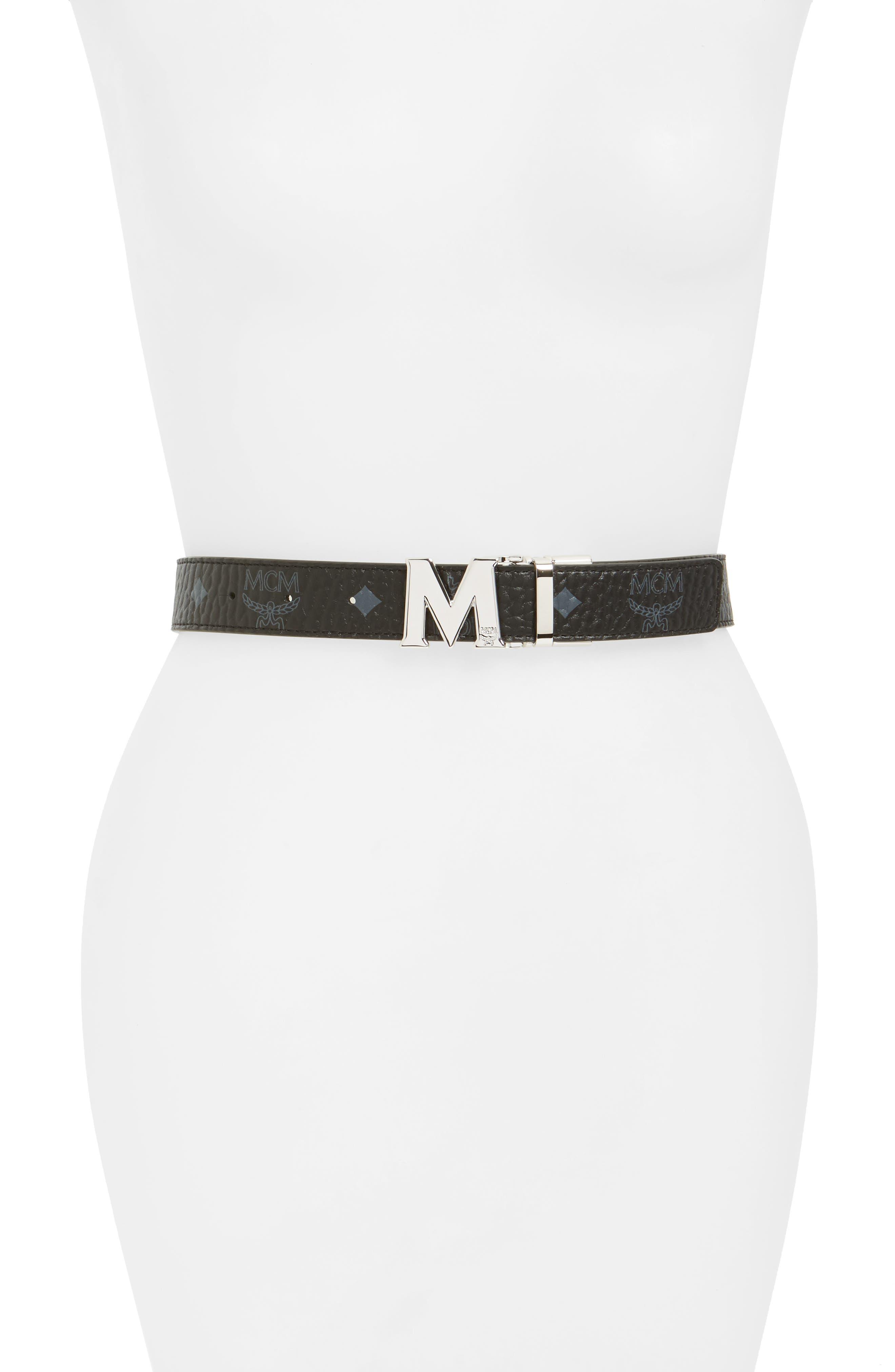 MCM Logo Buckle Reversible Belt