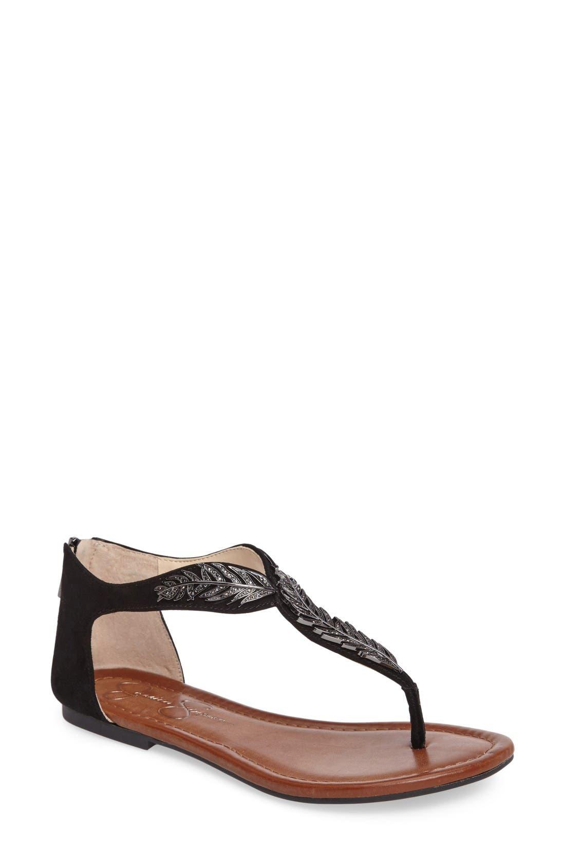Jessica Simpson Kalie Embellished Feather Sandal (Women)
