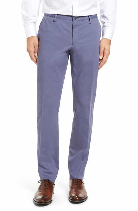 BOSS Stanino Slim Fit Flat Front Solid Stretch Cotton Trousers