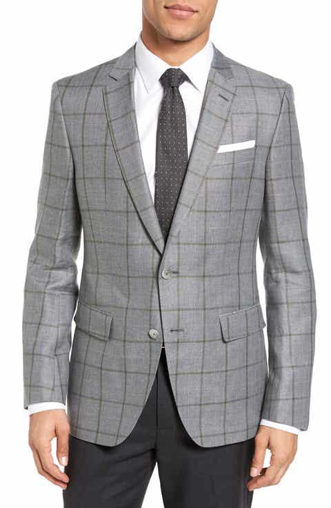BOSS Hutsons Trim Fit Windowpane Linen   Wool Sport Coat