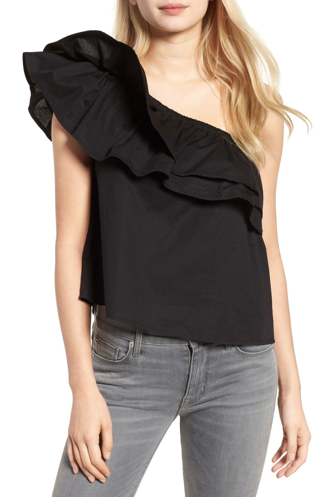 Alternate Image 1 Selected - Sincerely Jules Everly One-Shoulder Cotton Top