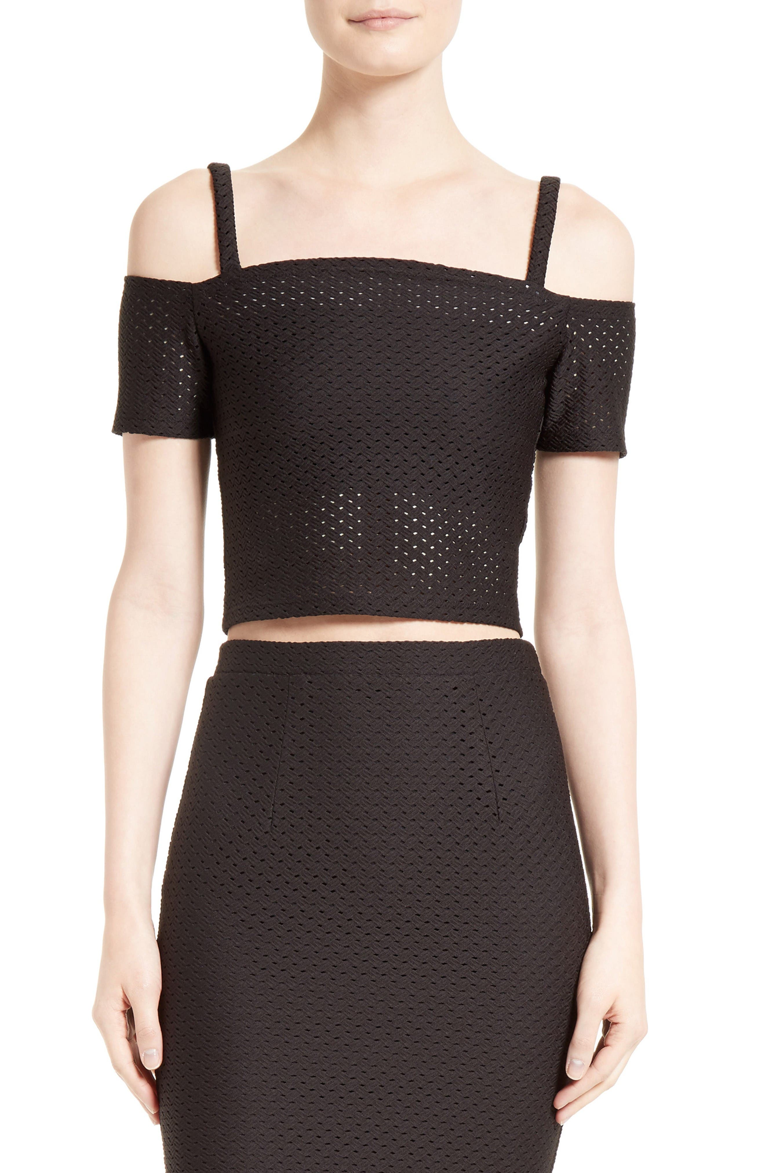 Main Image - Twenty Perforated Off the Shoulder Crop Top