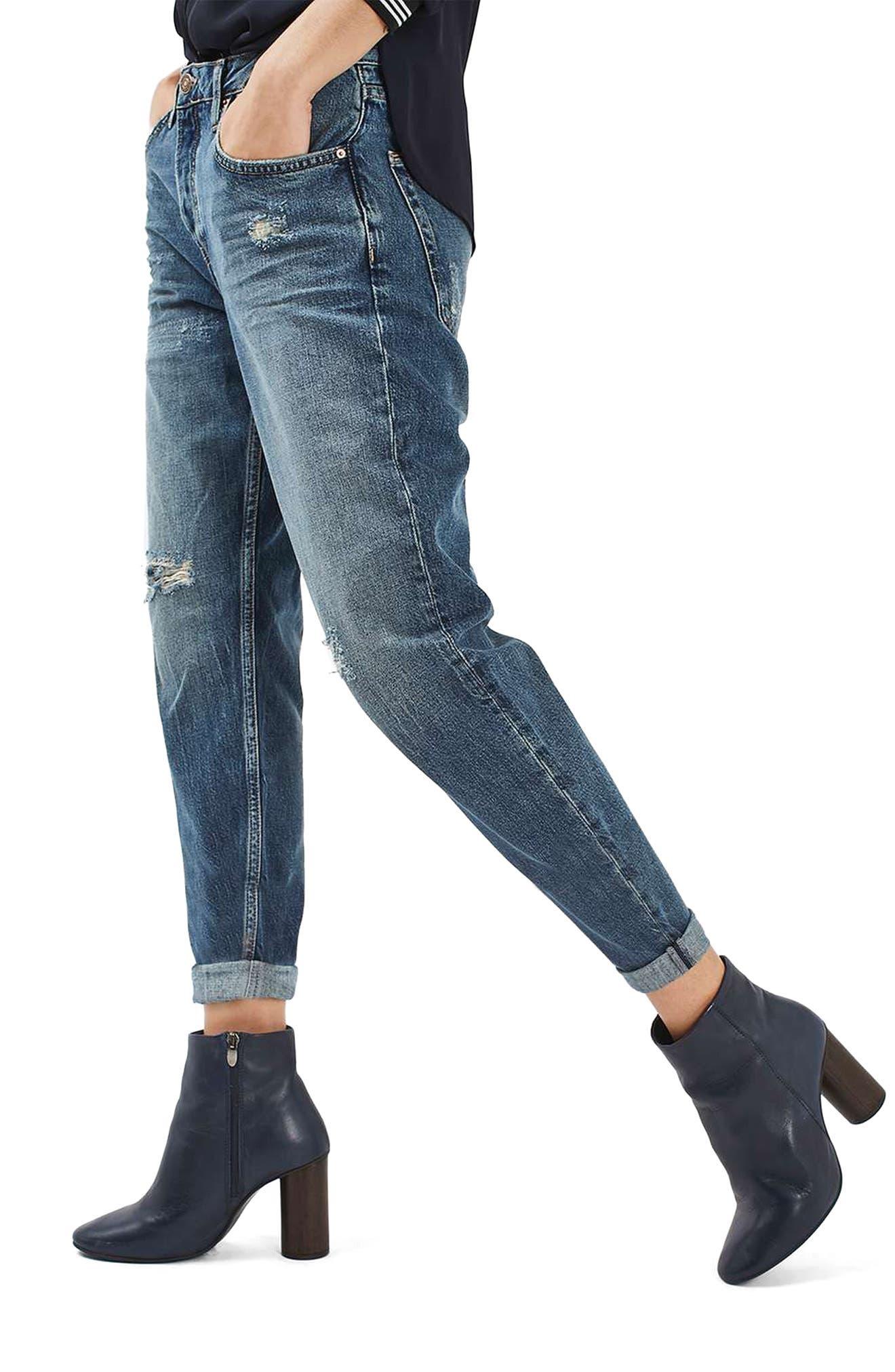 Main Image - Topshop Moto Hayden Destroyed Boyfriend Jeans (Dirty Blue)